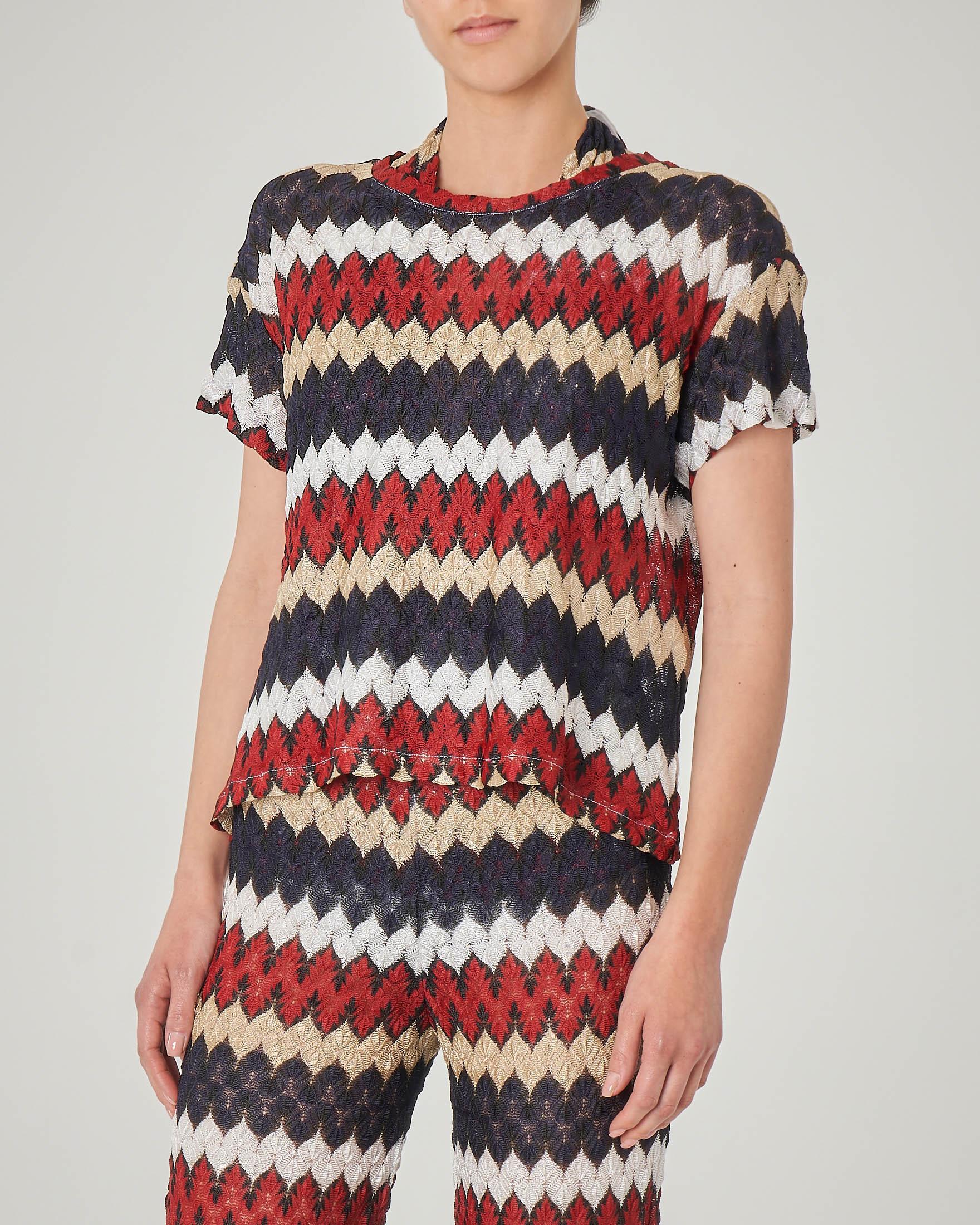 Maglia a righe multicolor in tessuto a maglia con maniche corte
