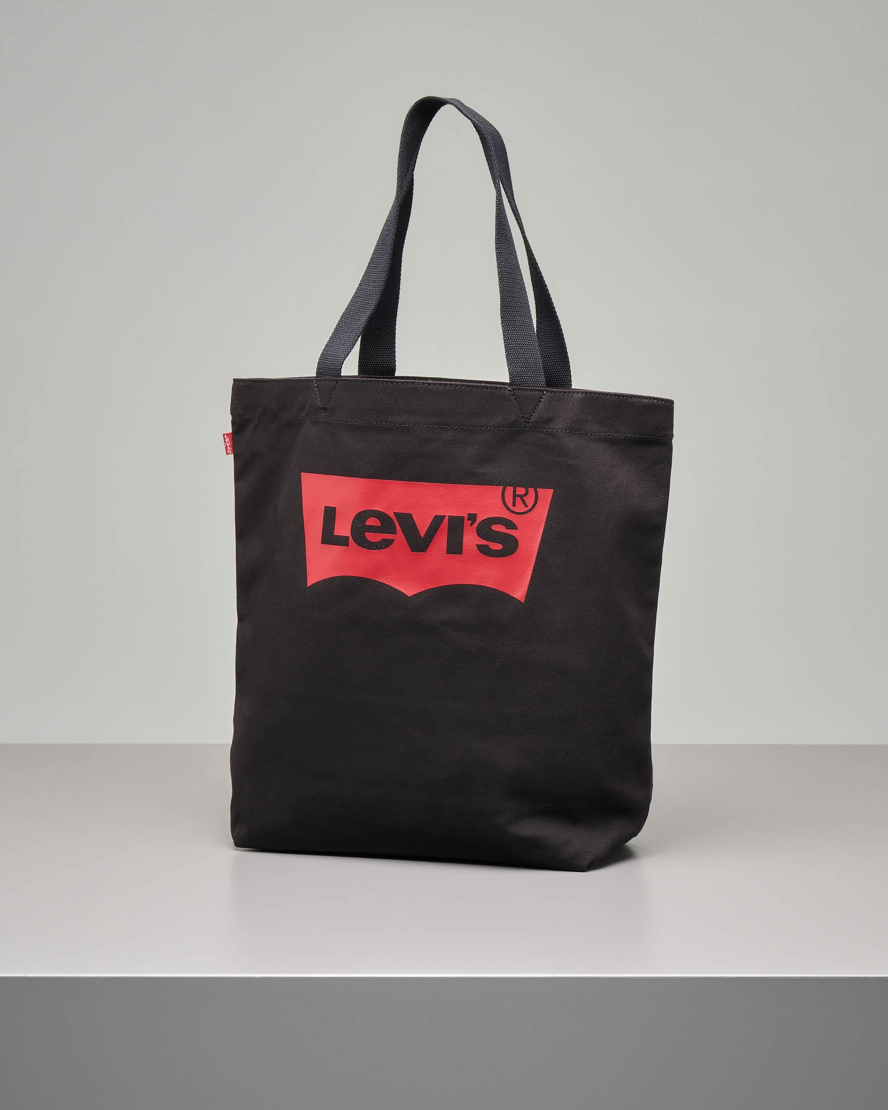 Shopping bag in cavass nera con batwing rosso stampata