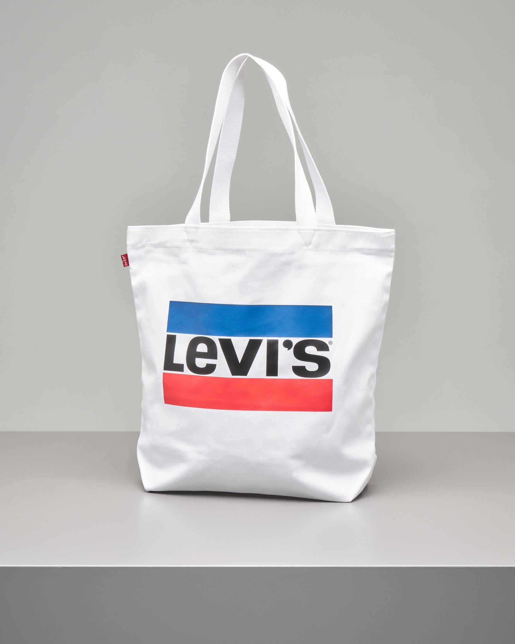 Shopping bag in cavas bianca con logo bicolore stampato