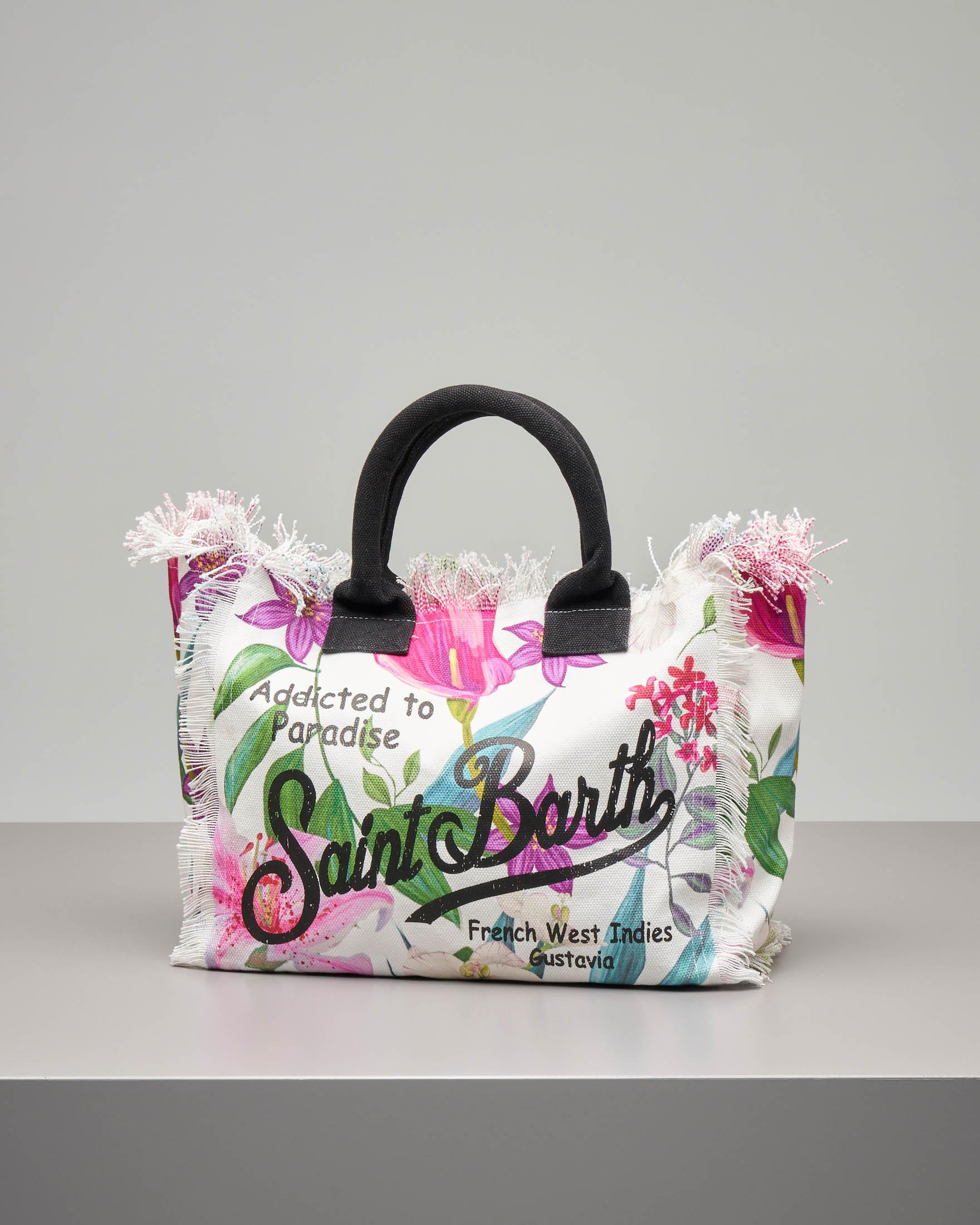 f7eac708fb Borsa in canvas di cotone naturale con stampa tropical e manici a contrasto  · MC2 Saint Barth