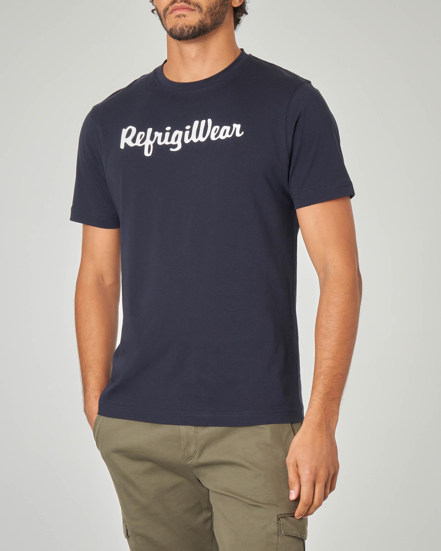 T-shirt blu con logo bianco stampato