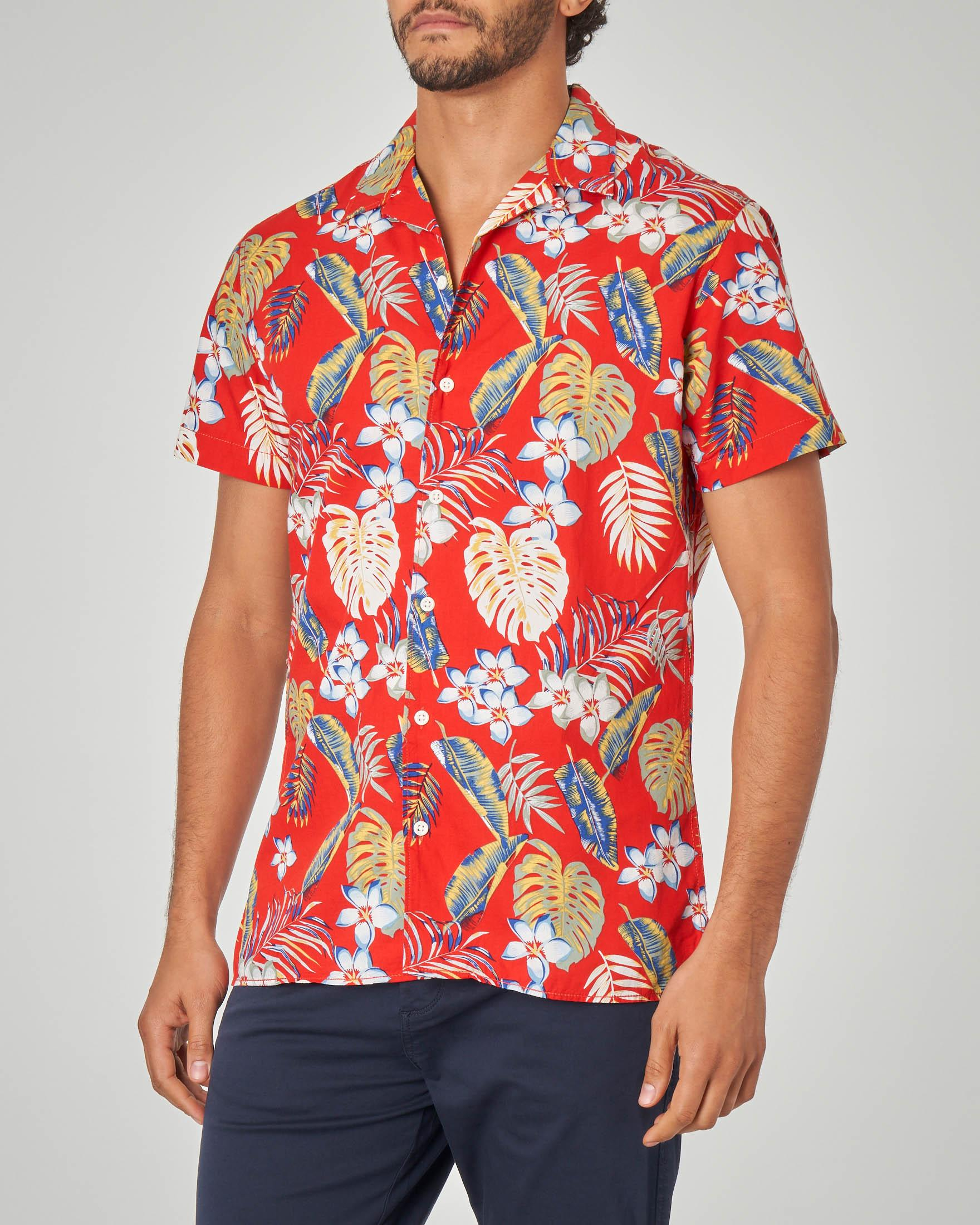Camicia mezza manica rossa fantasia hawaiana