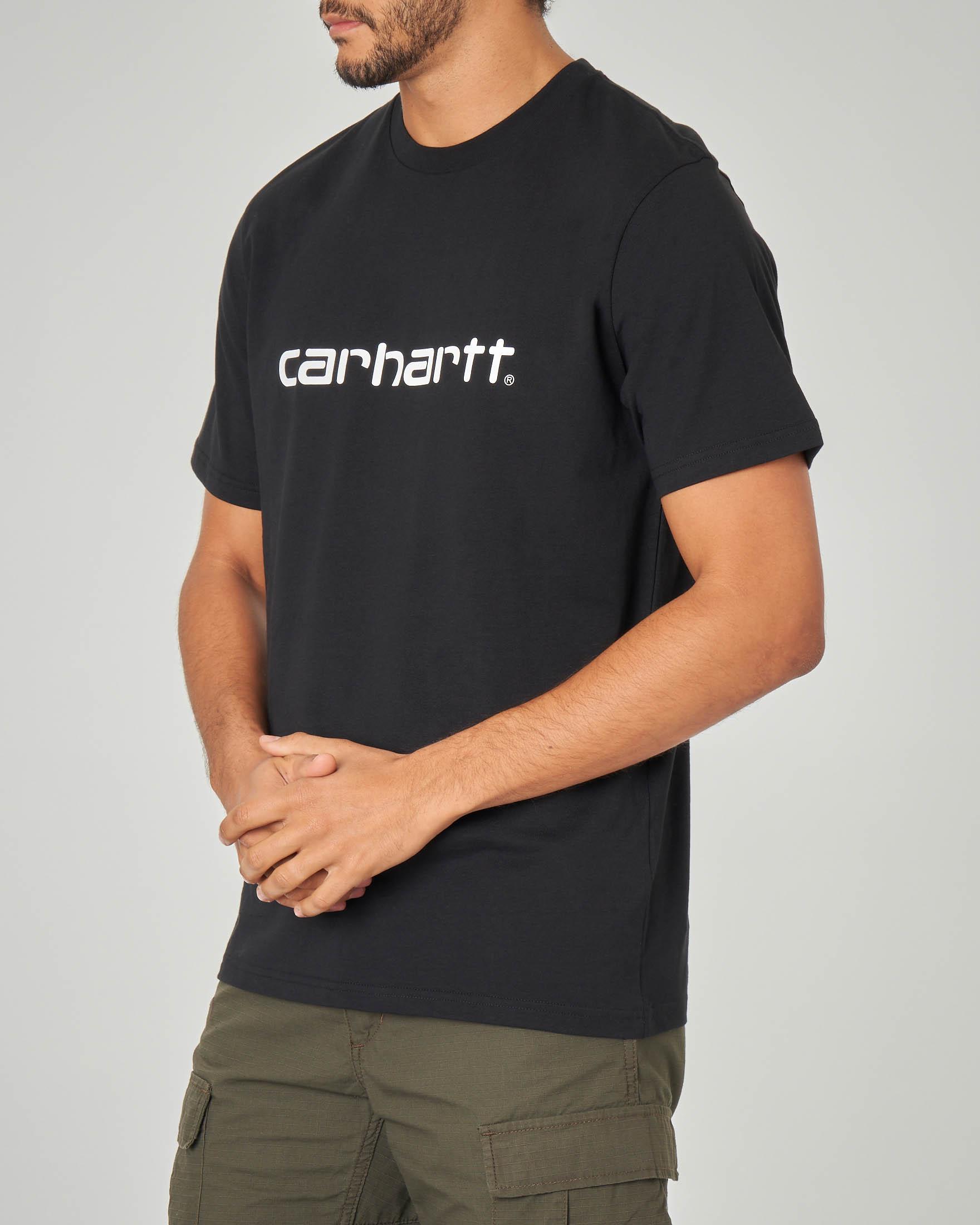 T-shirt nera con logo stampato