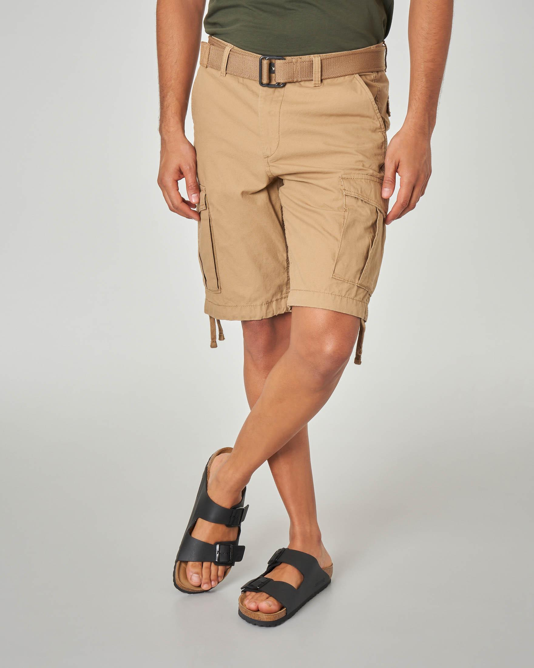 Bermuda cargo beige con cintura