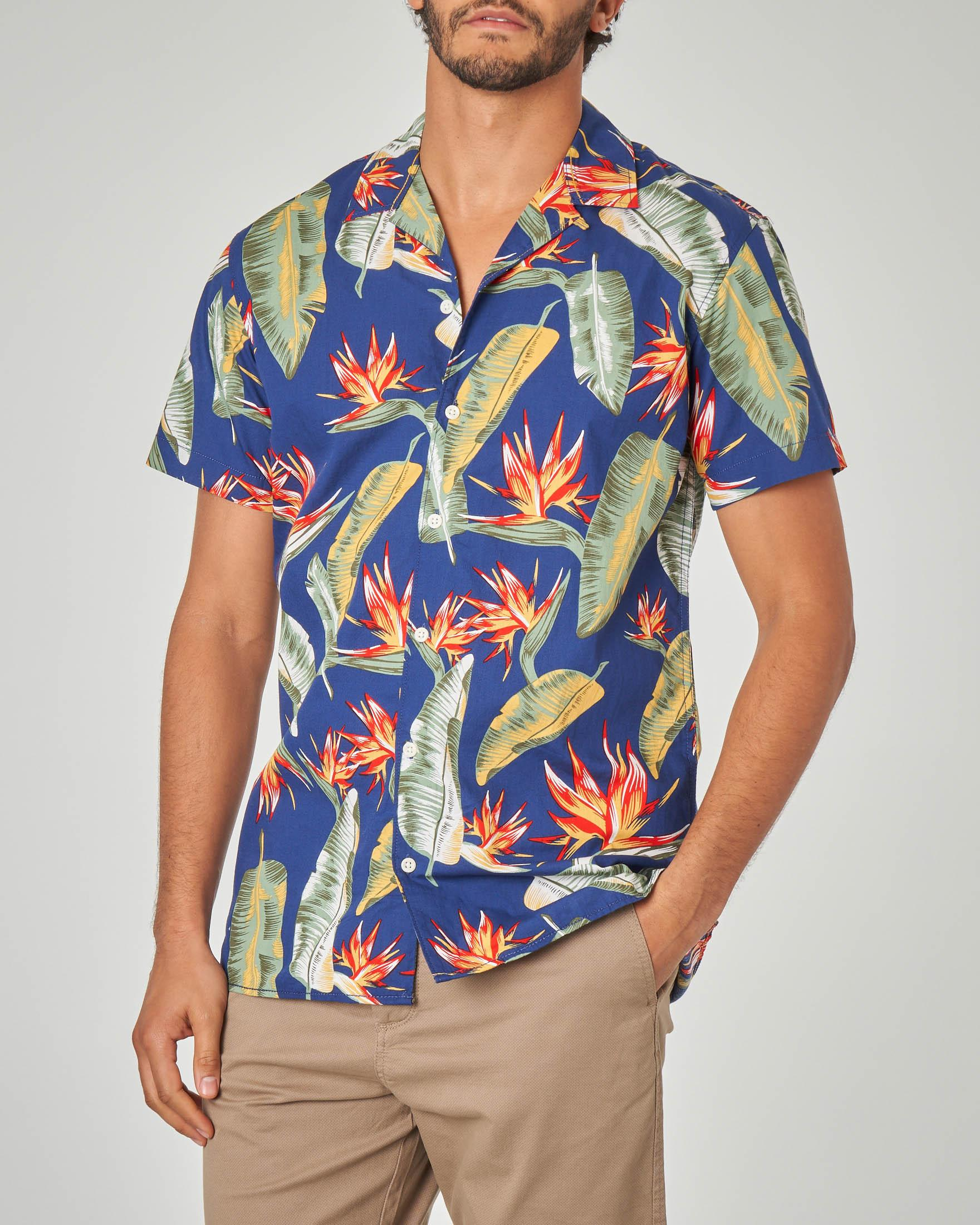 Camicia mezza manica blu fantasia hawaiana