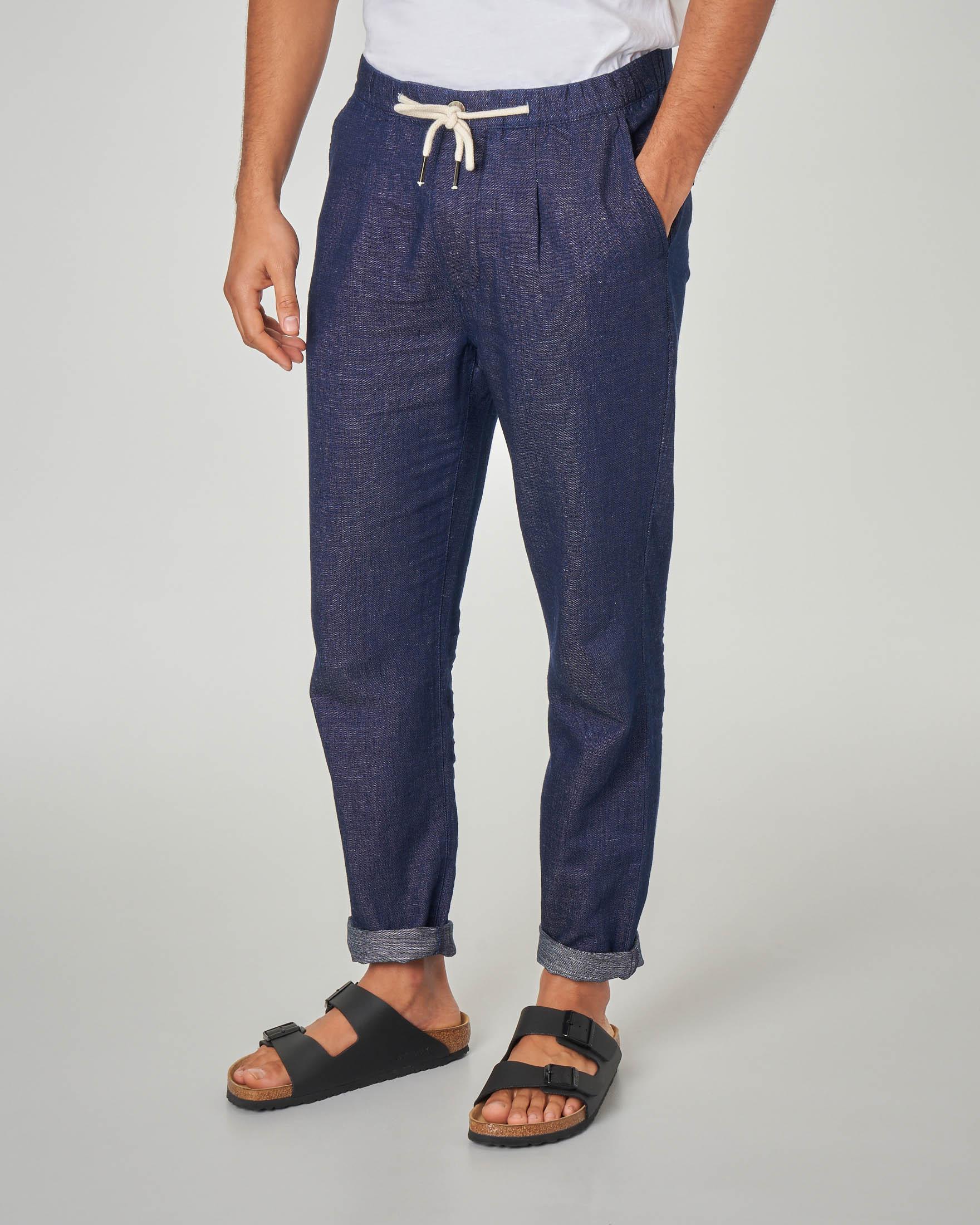 Pantalaccio blu effetto denim in cotone e lino