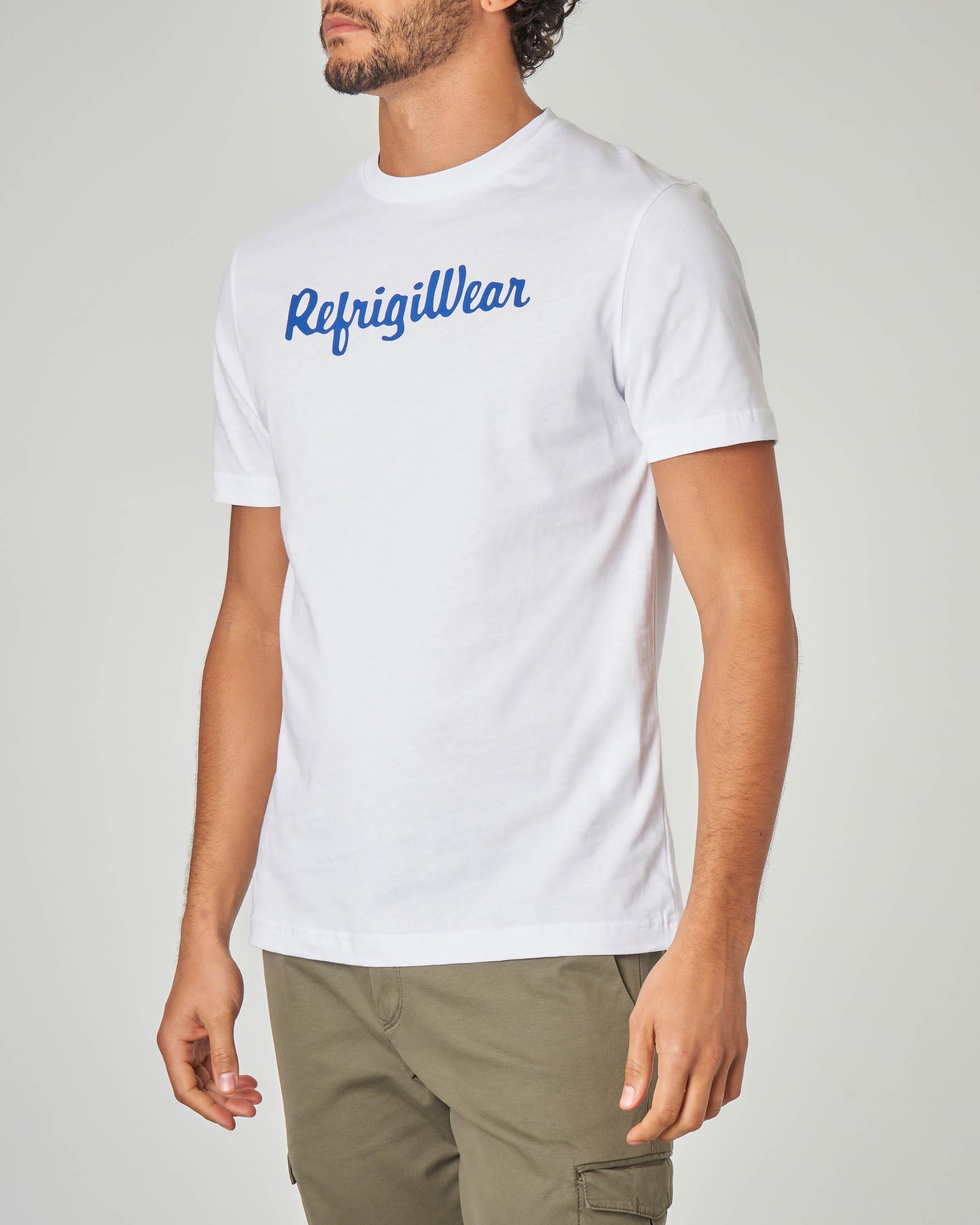 T-shirt bianca con logo blu royal stampato