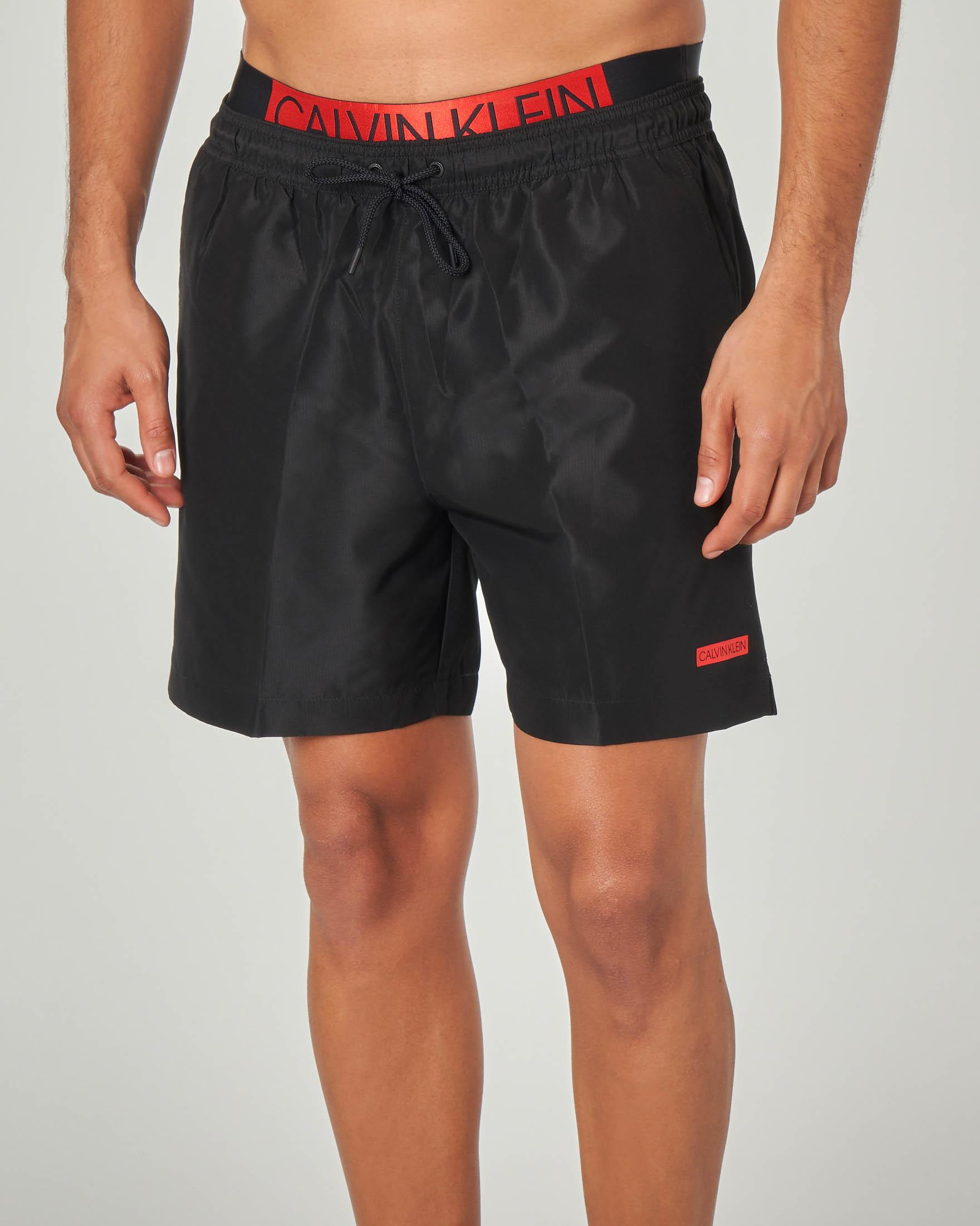 Boxer nero con elastico logato in vita