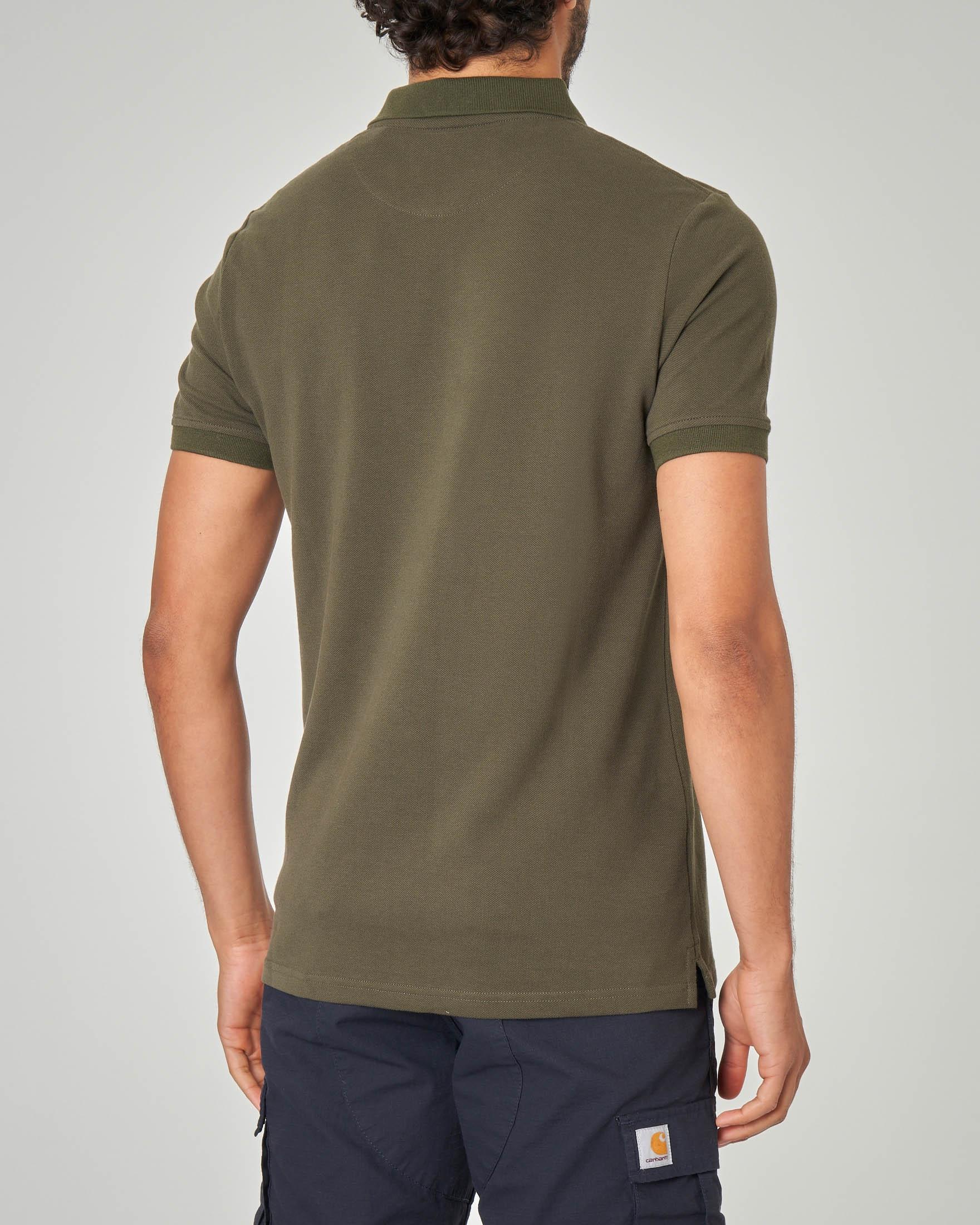 Polo verde militare tinta unita