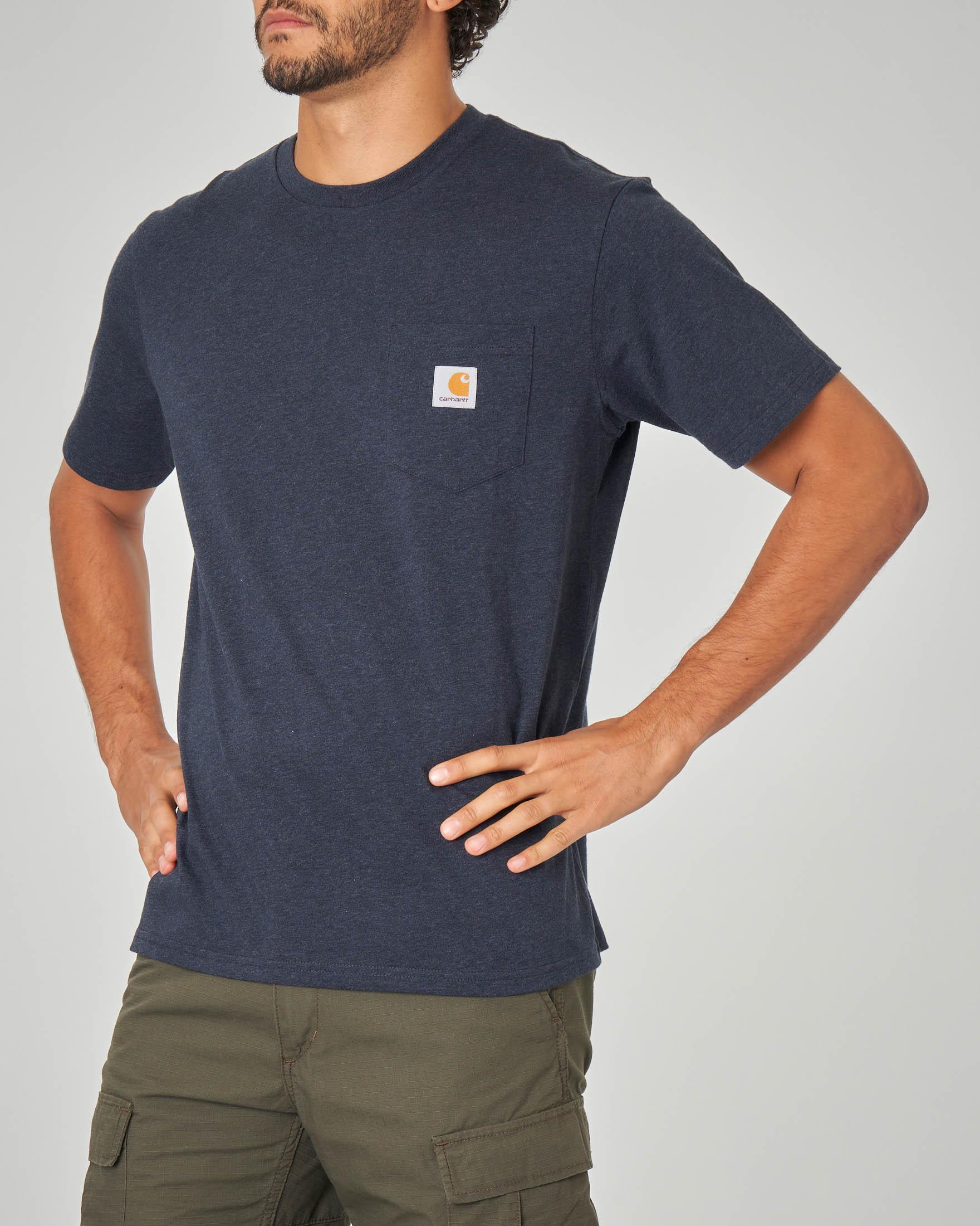 T-shirt blu melange con taschino