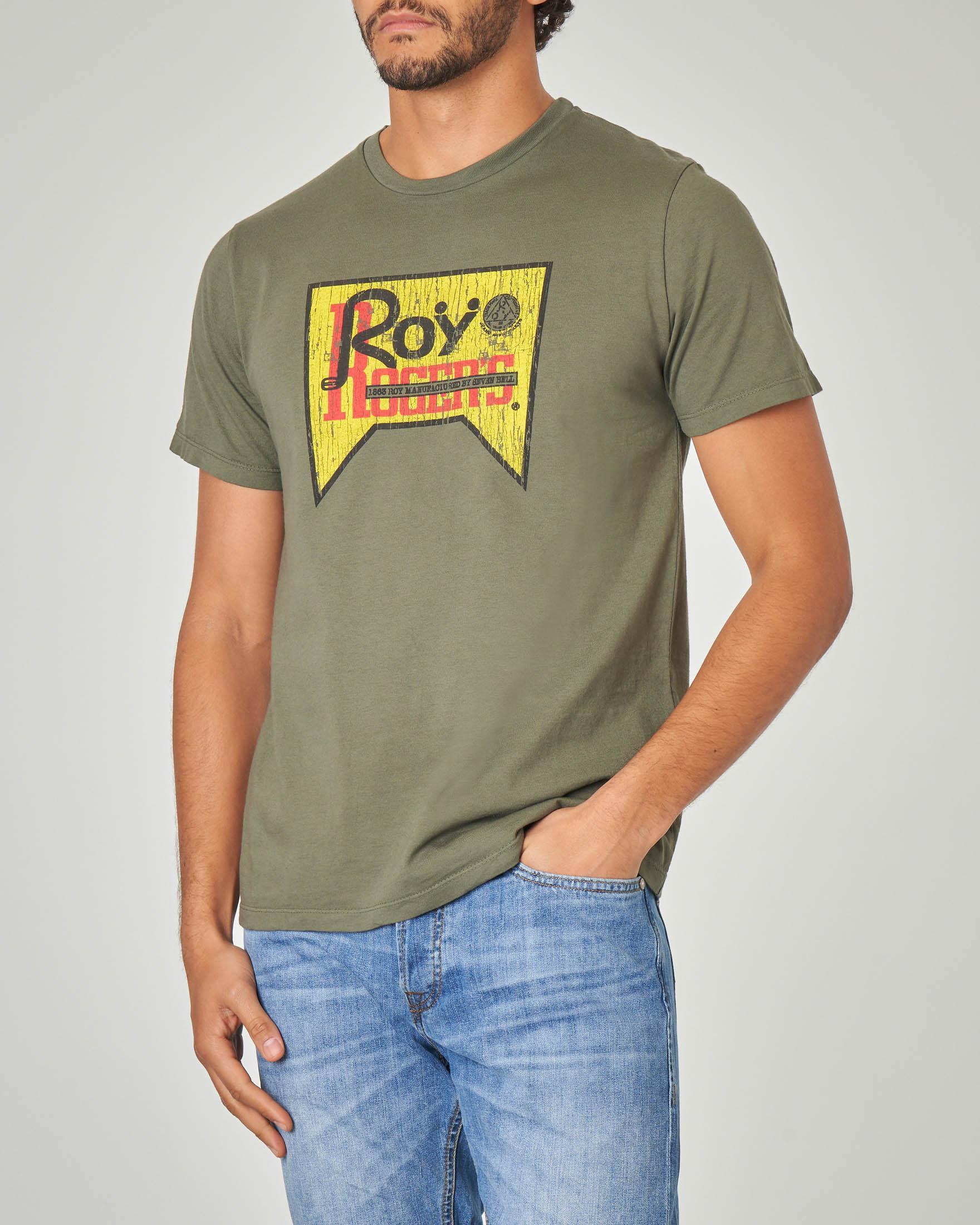 T-shirt verde militare con logo stampato