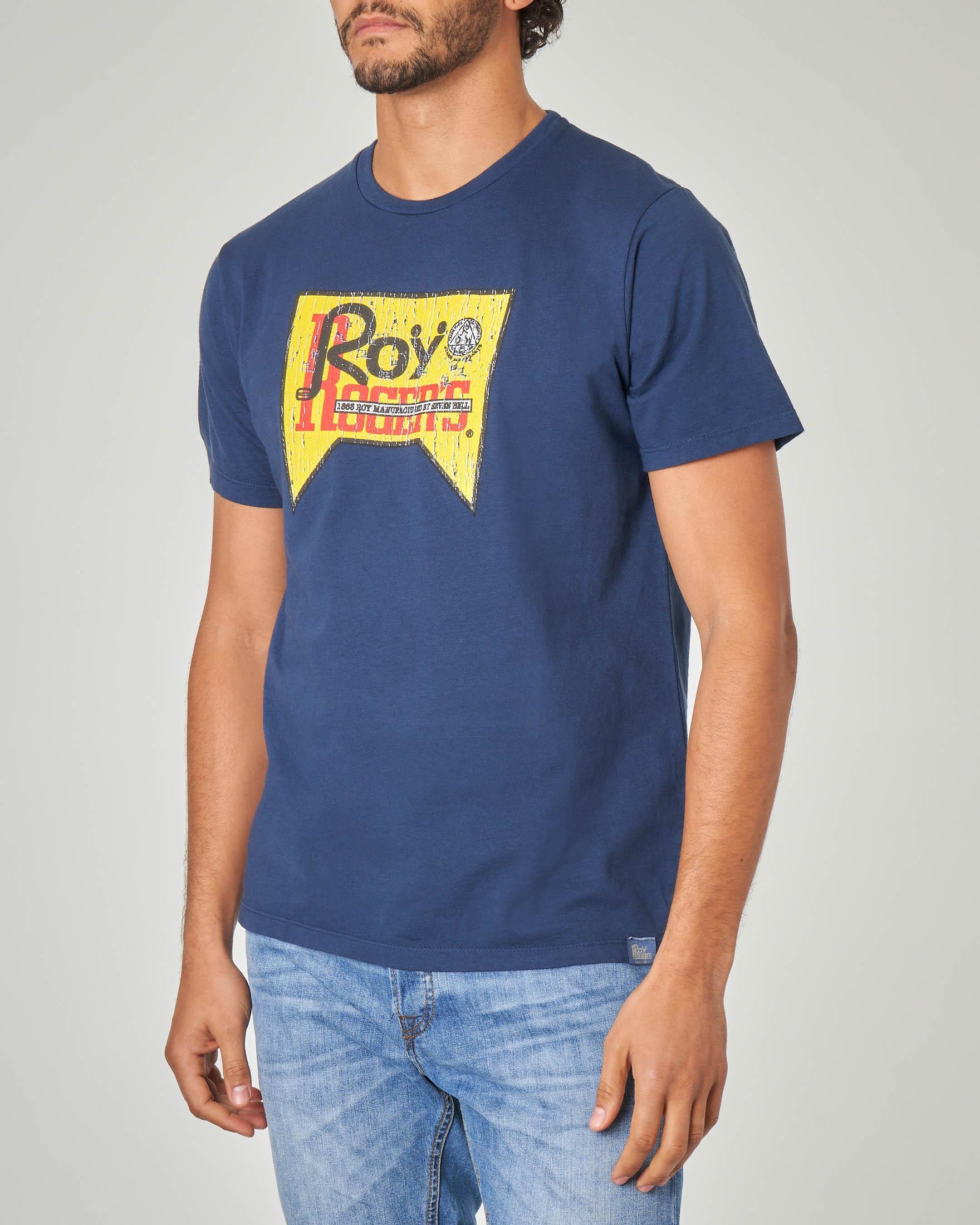 T-shirt blu con logo stampato