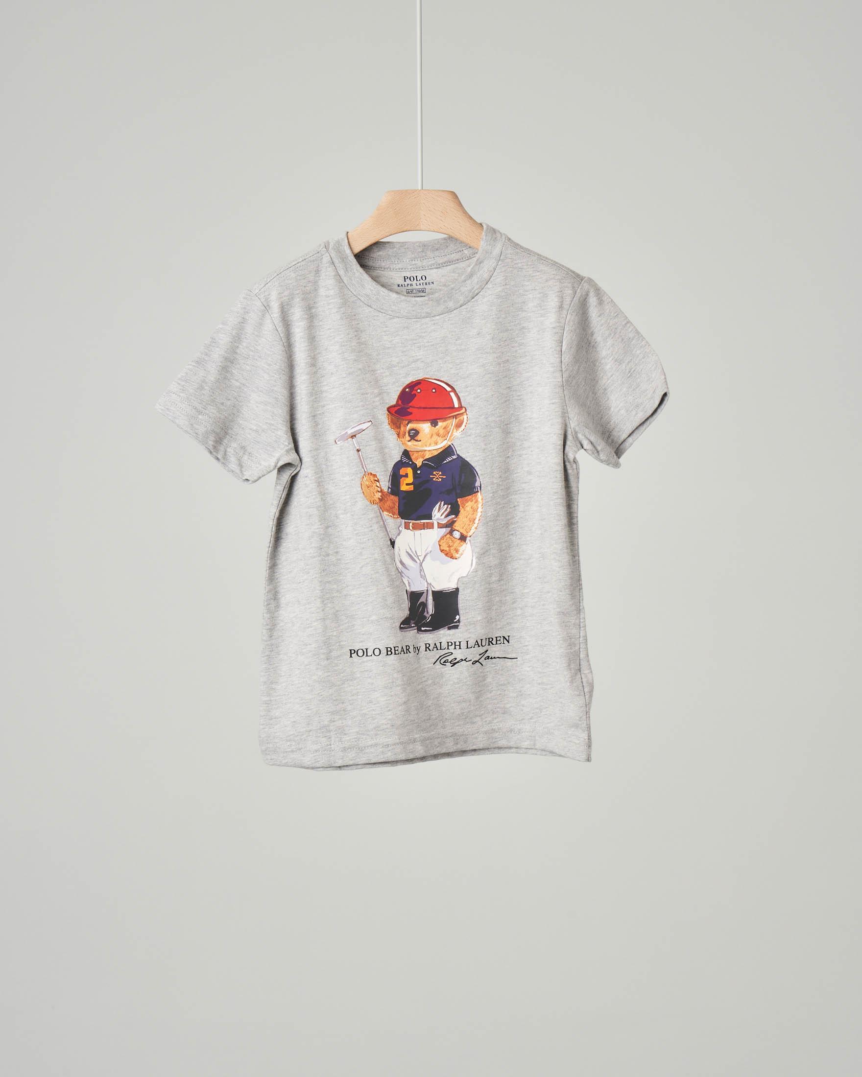 T-shirt grigia con orsetto stampato