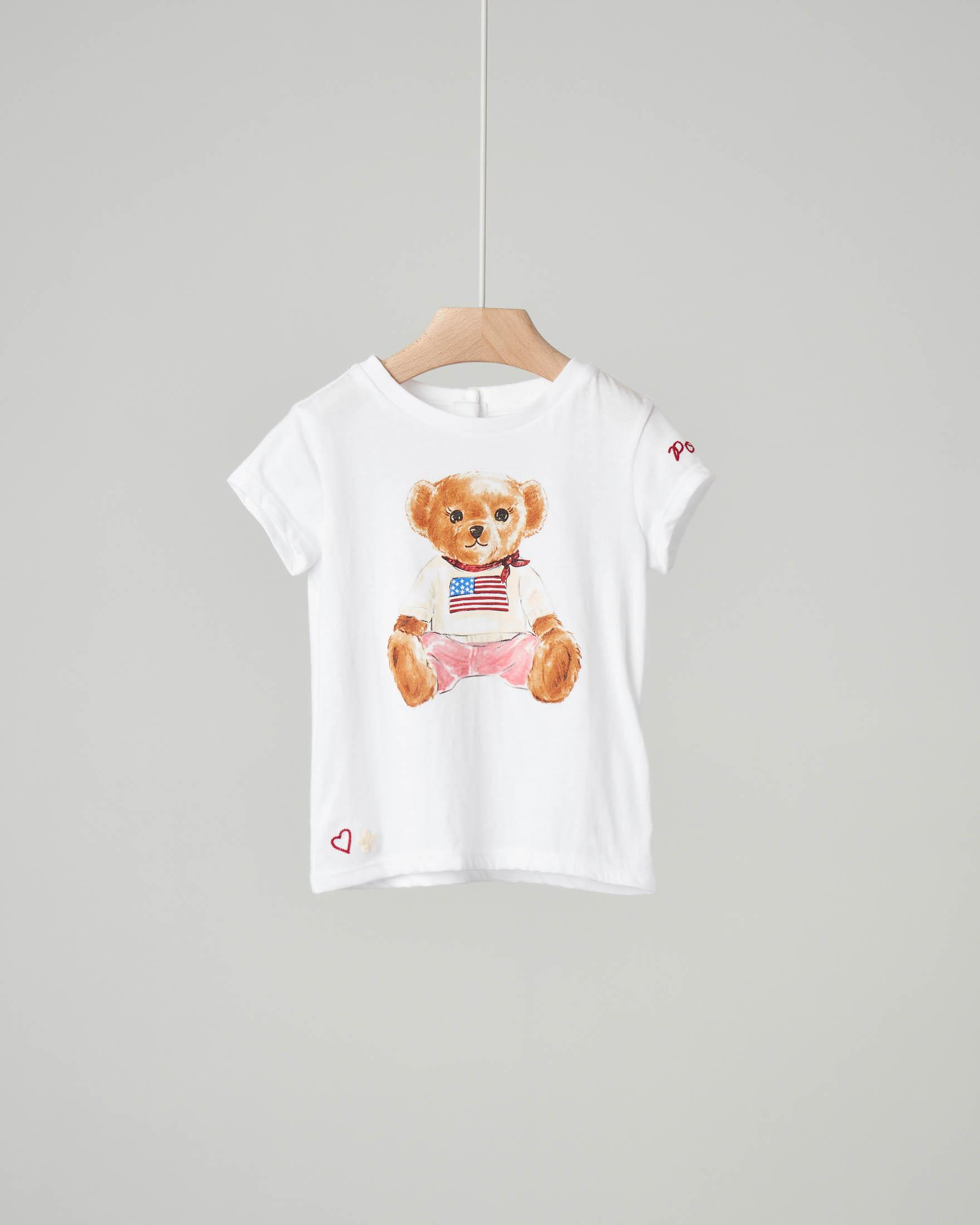 T-shirt bianca con stampa orsetto
