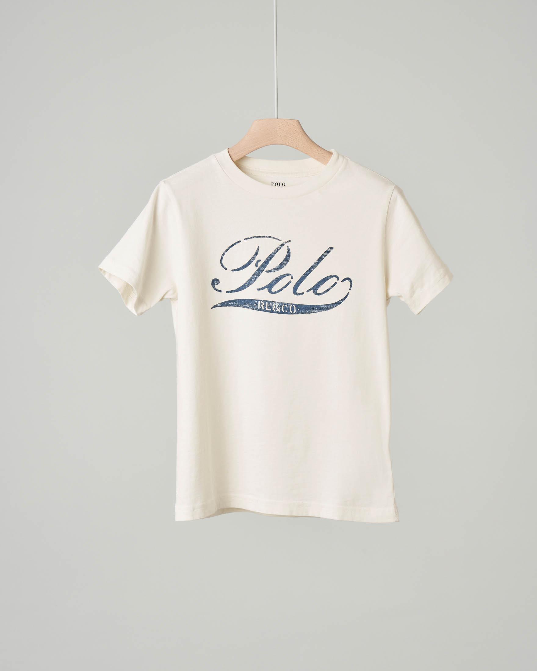 T-shirt avorio con stampa logo