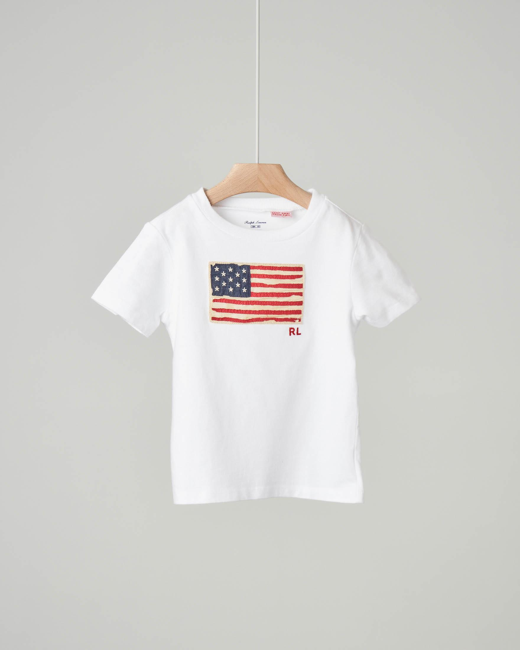 T-shirt bianca con bandiera USA