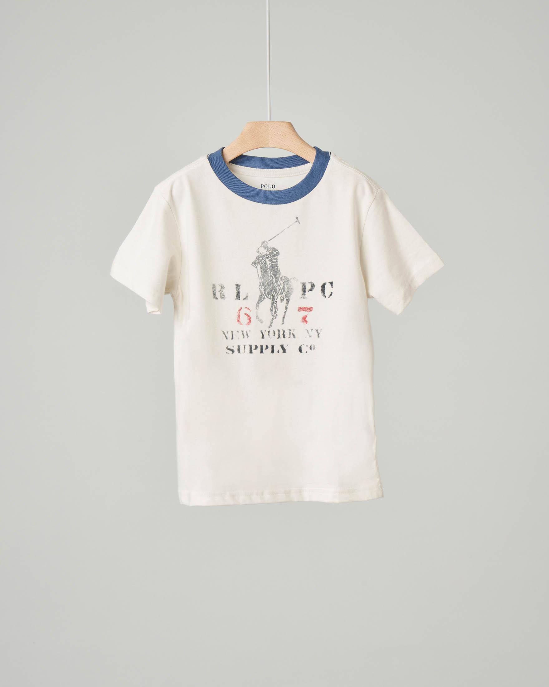 T-shirt avorio con stampa logo pony