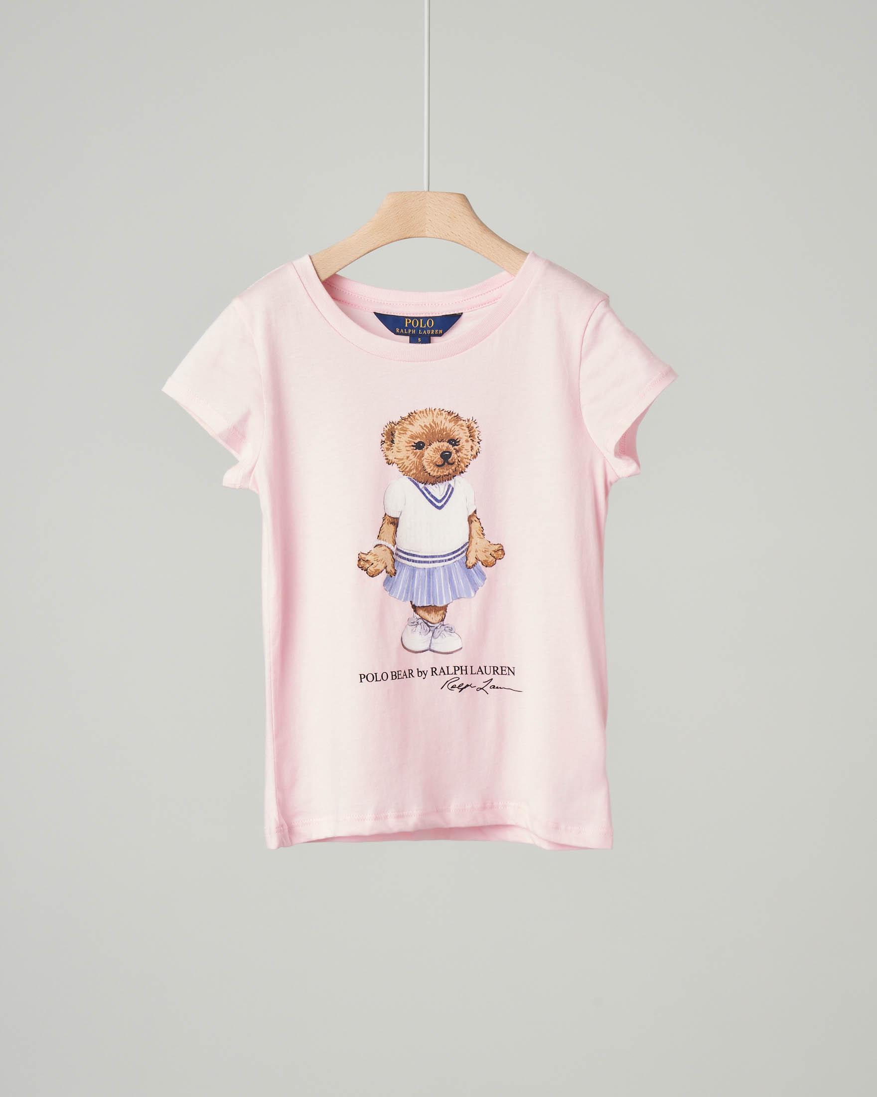 T-shirt rosa con orsetto e logo stampati