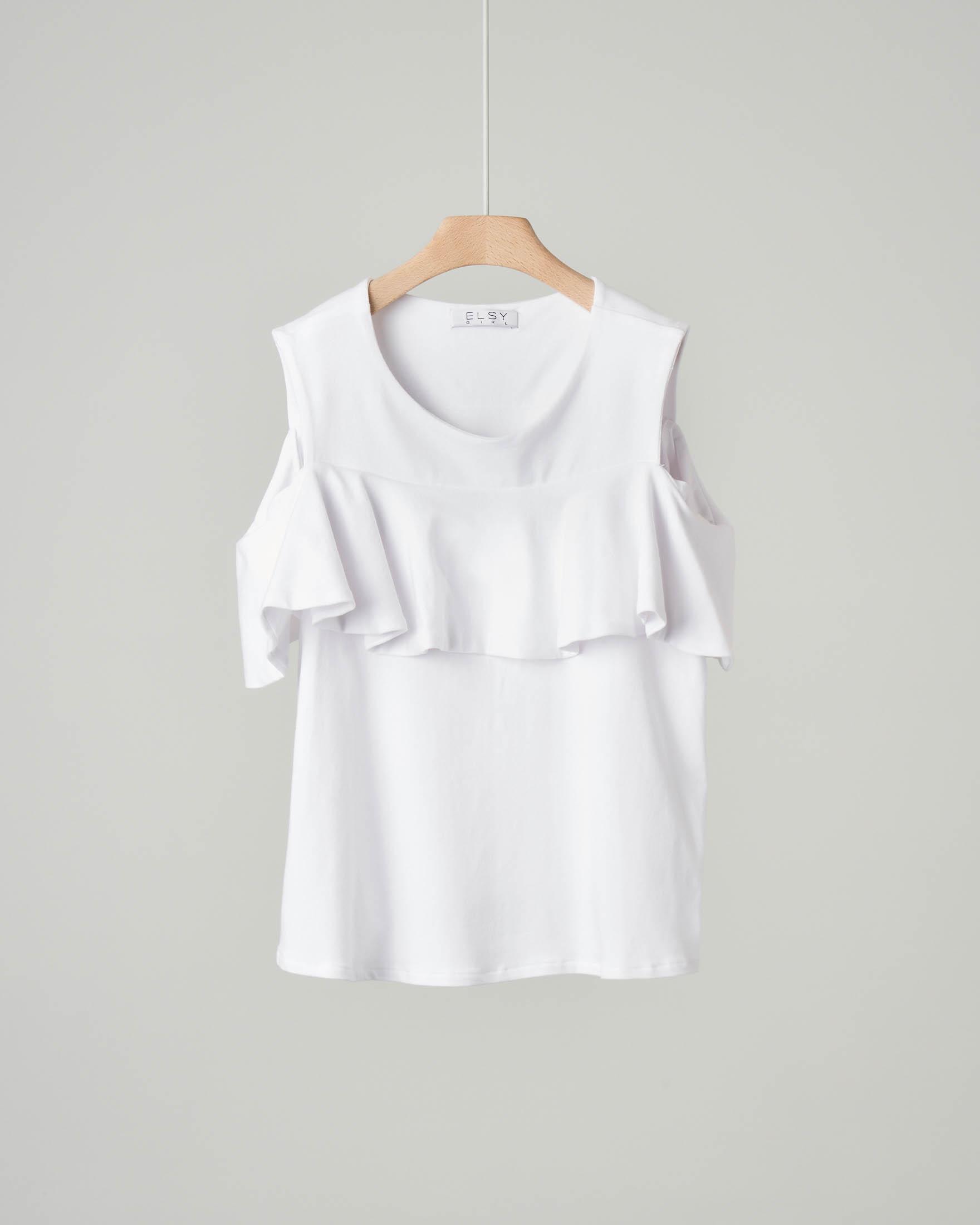 T-shirt con volant bianca