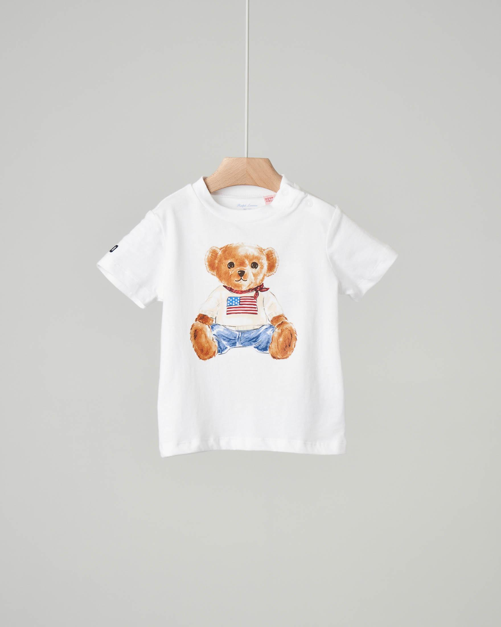 T-shirt bianca con orsetto stampato