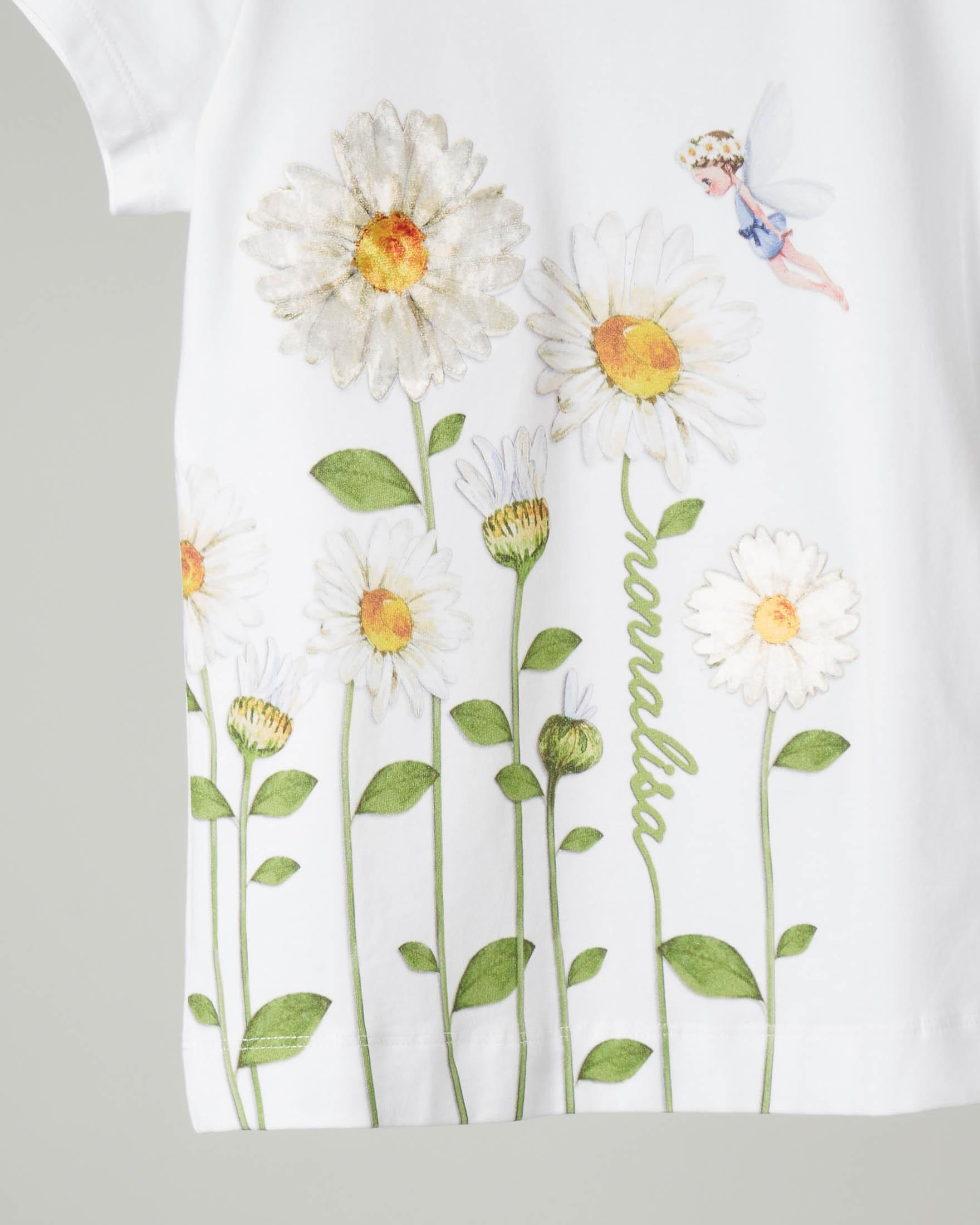 T-shirt bianca con stampa margherite