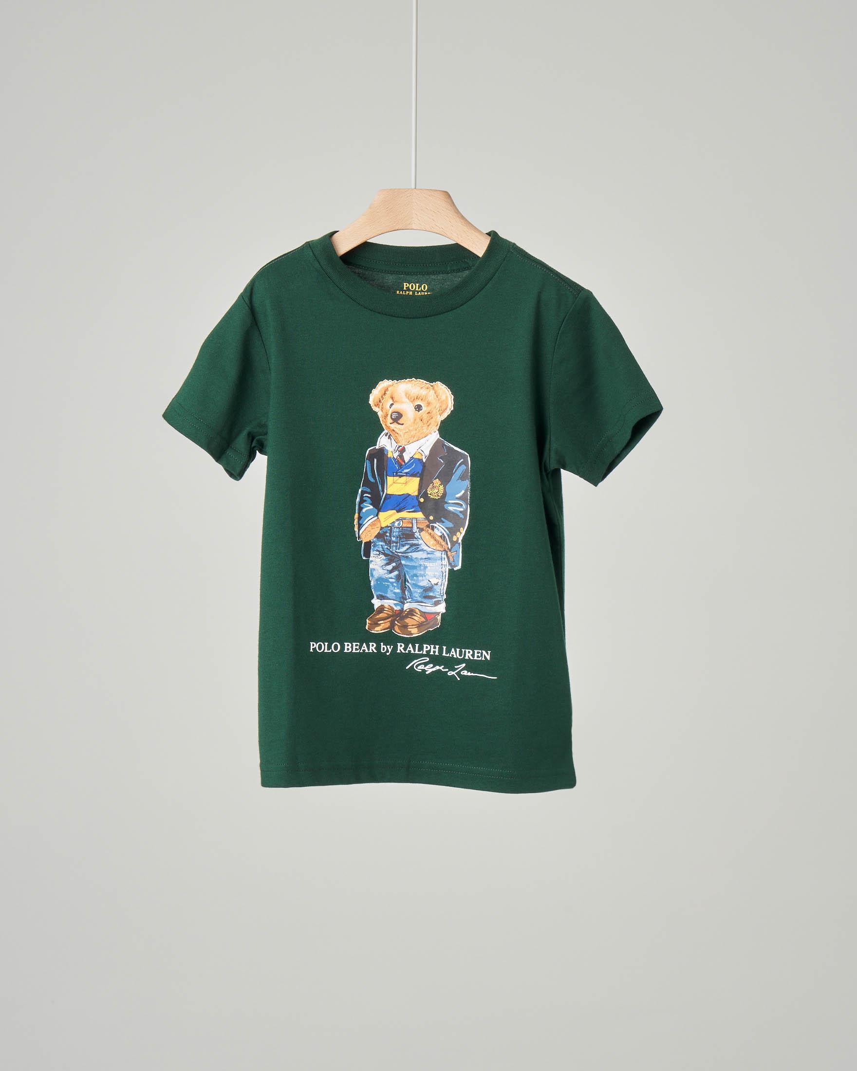 T-shirt verde con orsetto stampato