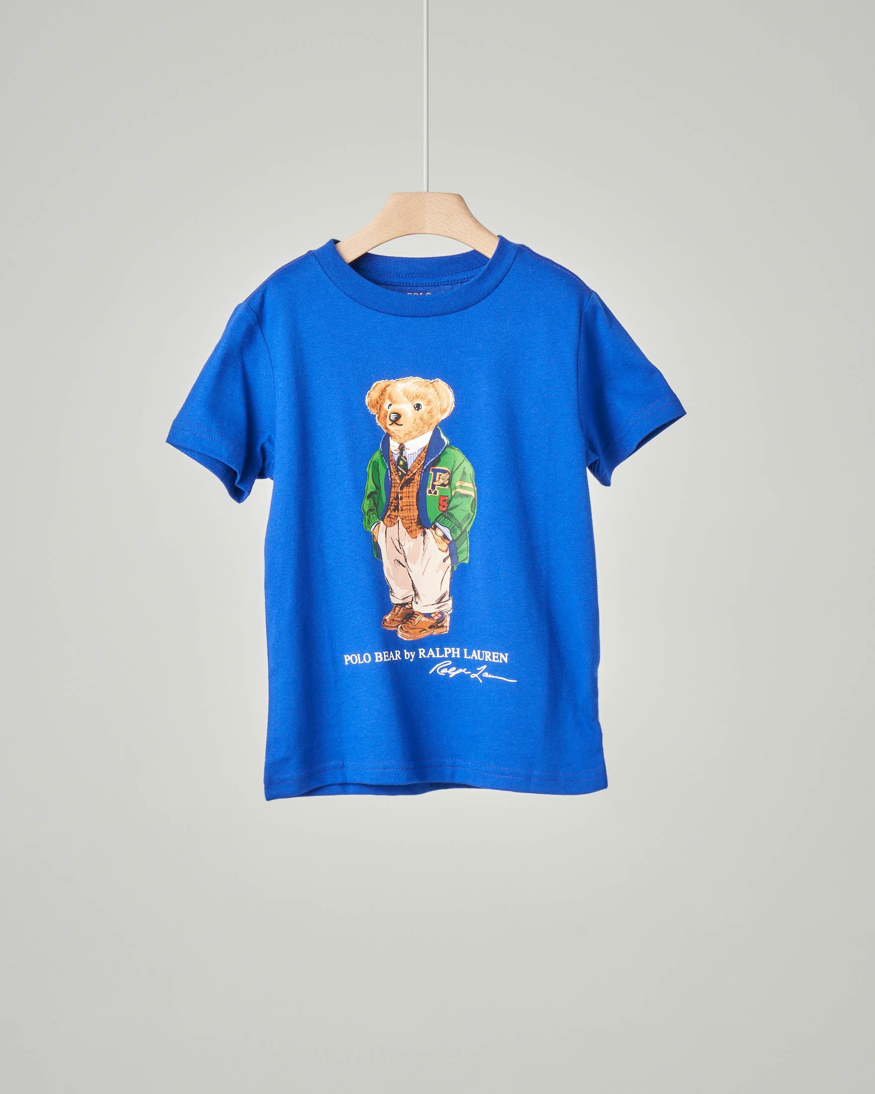 T-shirt blu royal con orsetto stampato