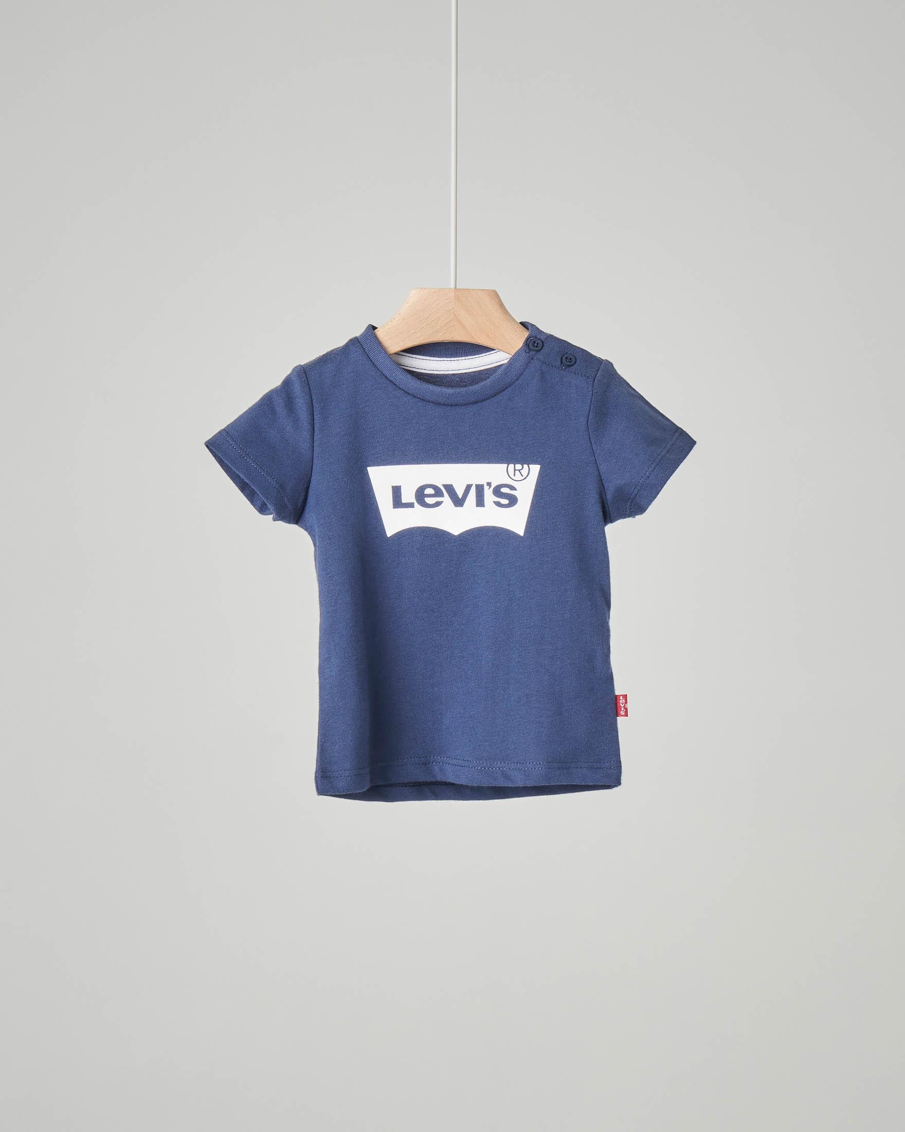 T-shirt blu con logo batwing bianco