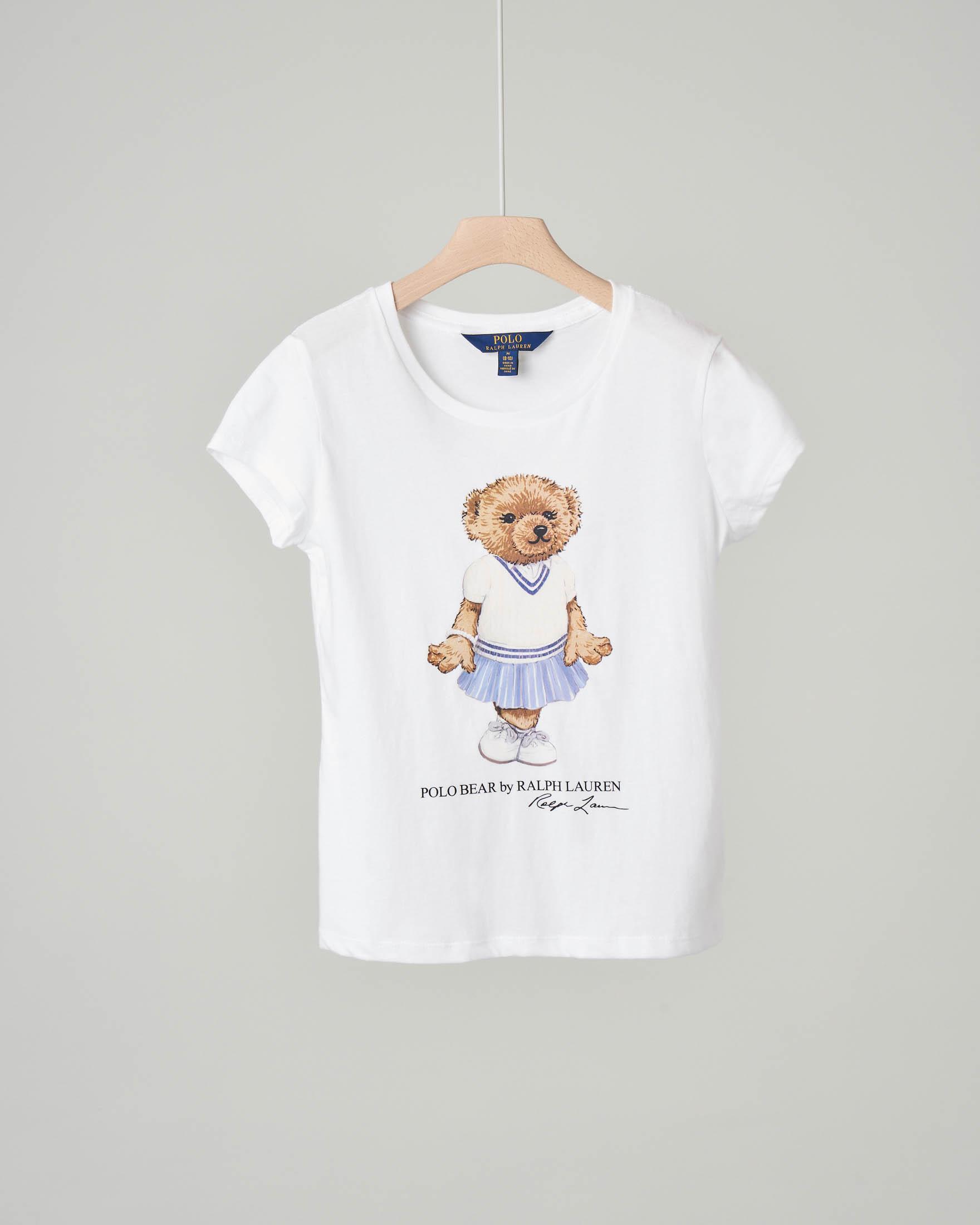 T-shirt bianca con orsetto e logo stampati
