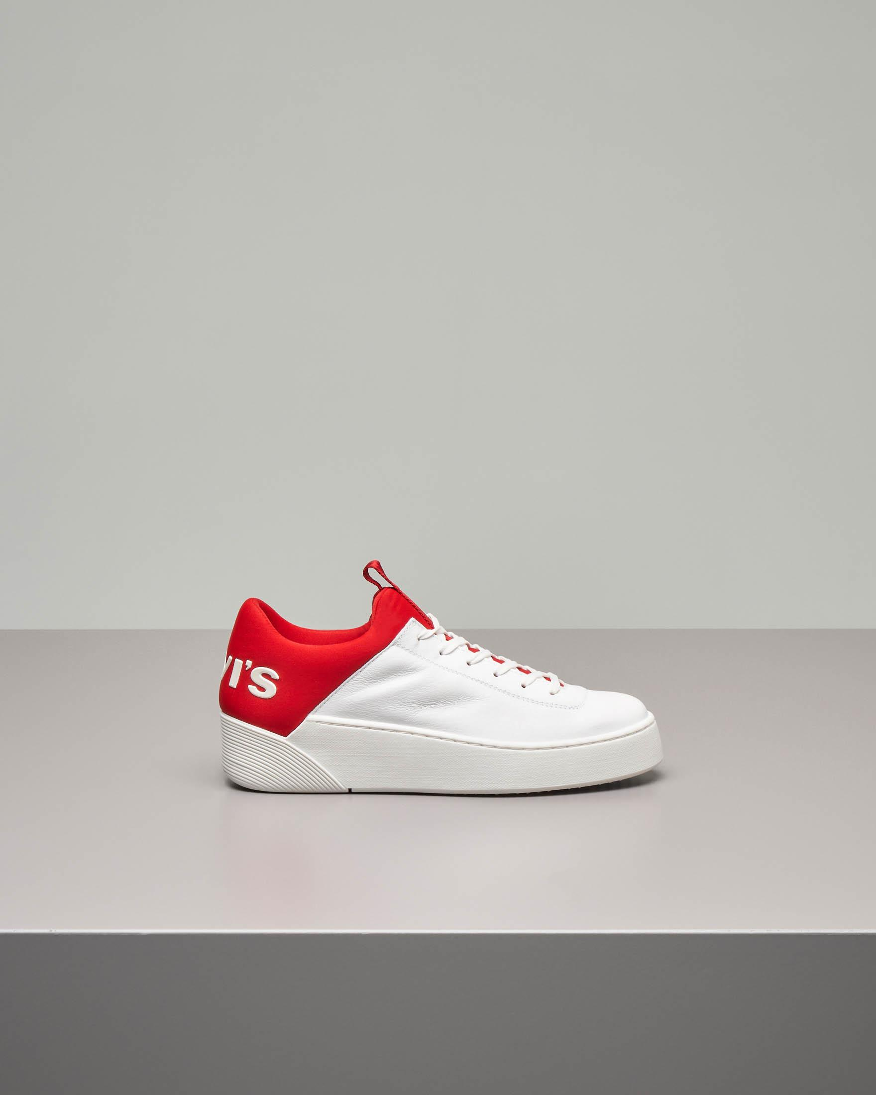 Sneaker Levi's Mullet bianche con logo oversized rosso