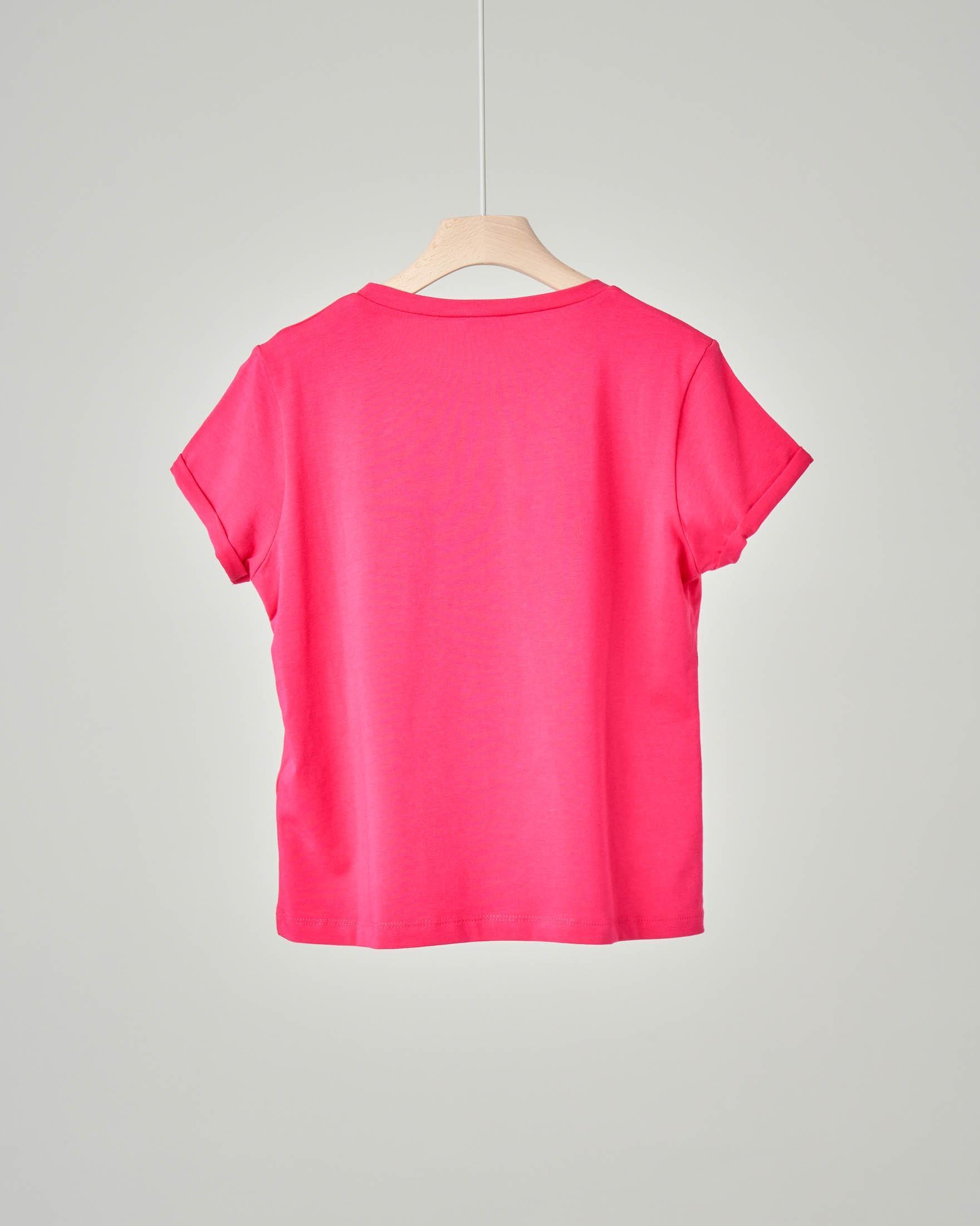 T-shirt fucsia in cotone elasticizzato con stampa farfalla e fiori