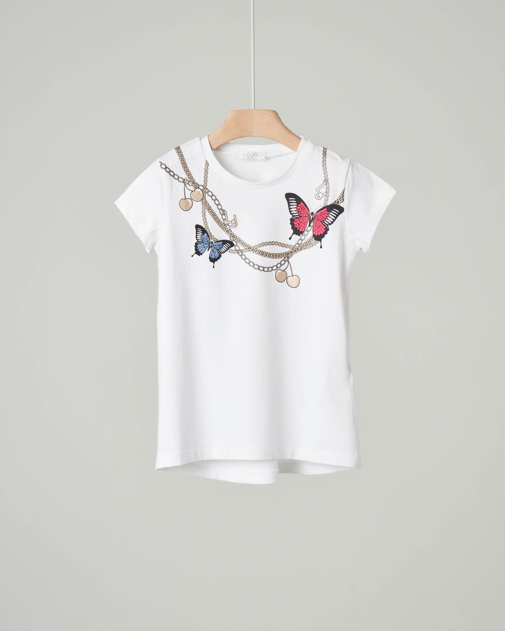 T-shirt bianca in cotone elasticizzato con maniche corte e stampa catene e farfalle