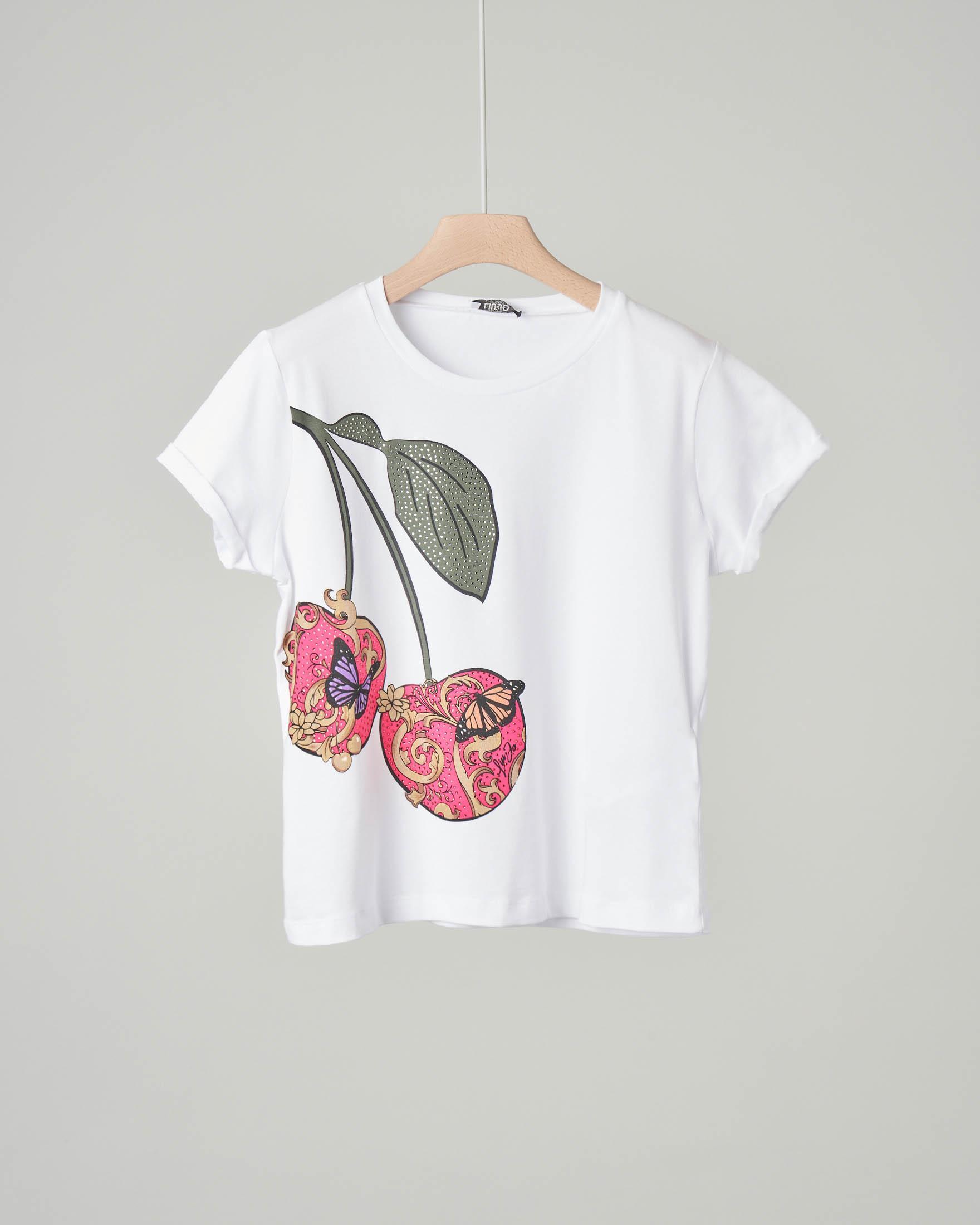 T-shirt bianca con maniche corte a stampa ciliegie con strass applicati