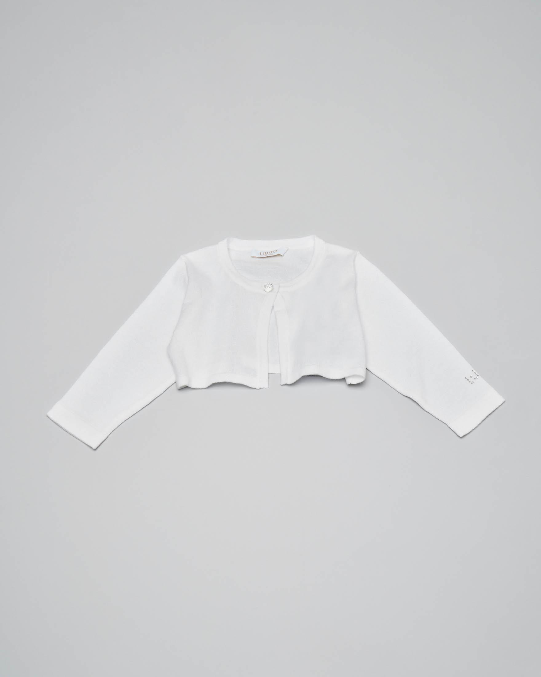 Coprispalle bianco in cotone con chiusura a un bottone