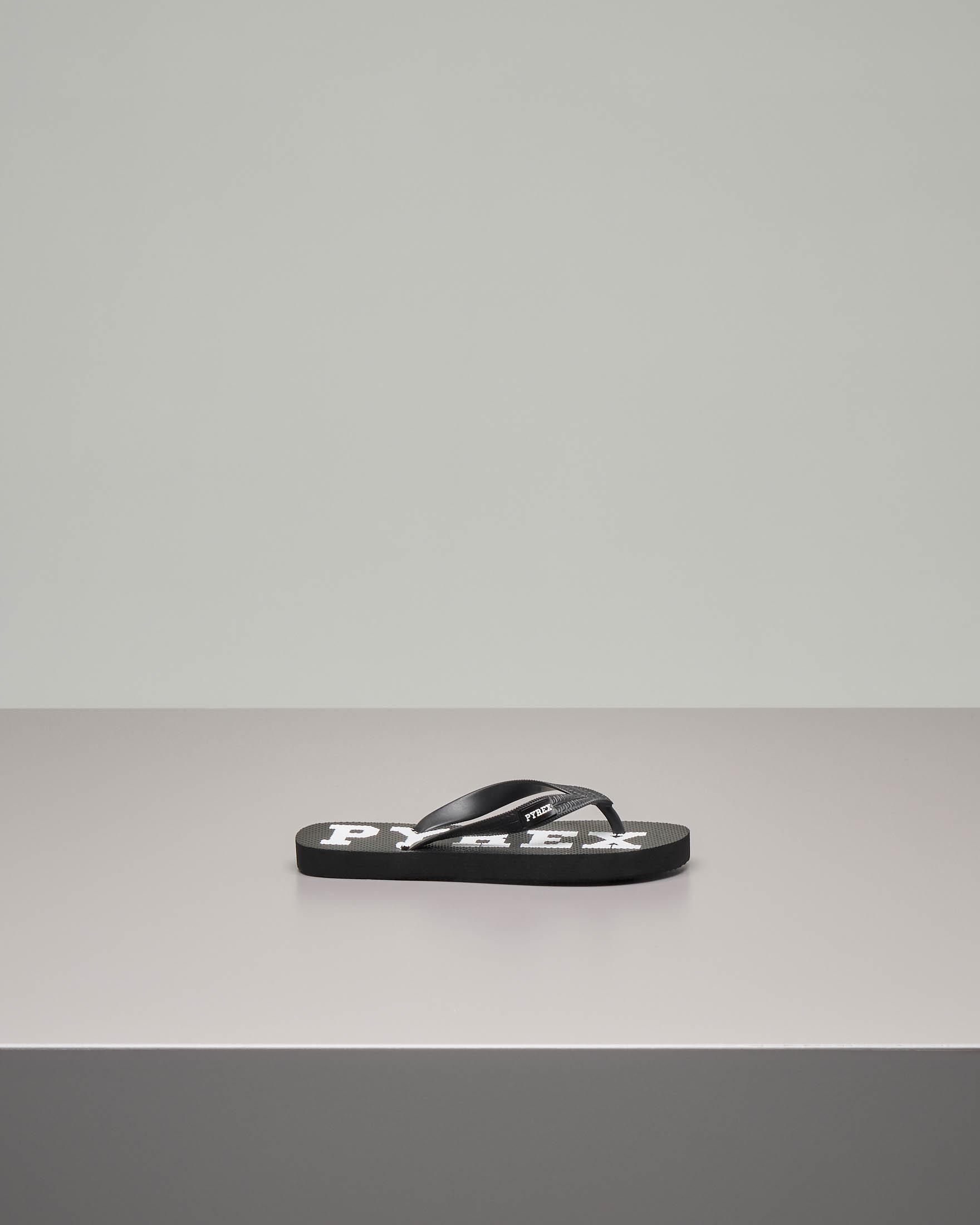 Infradito nero con logo bianco