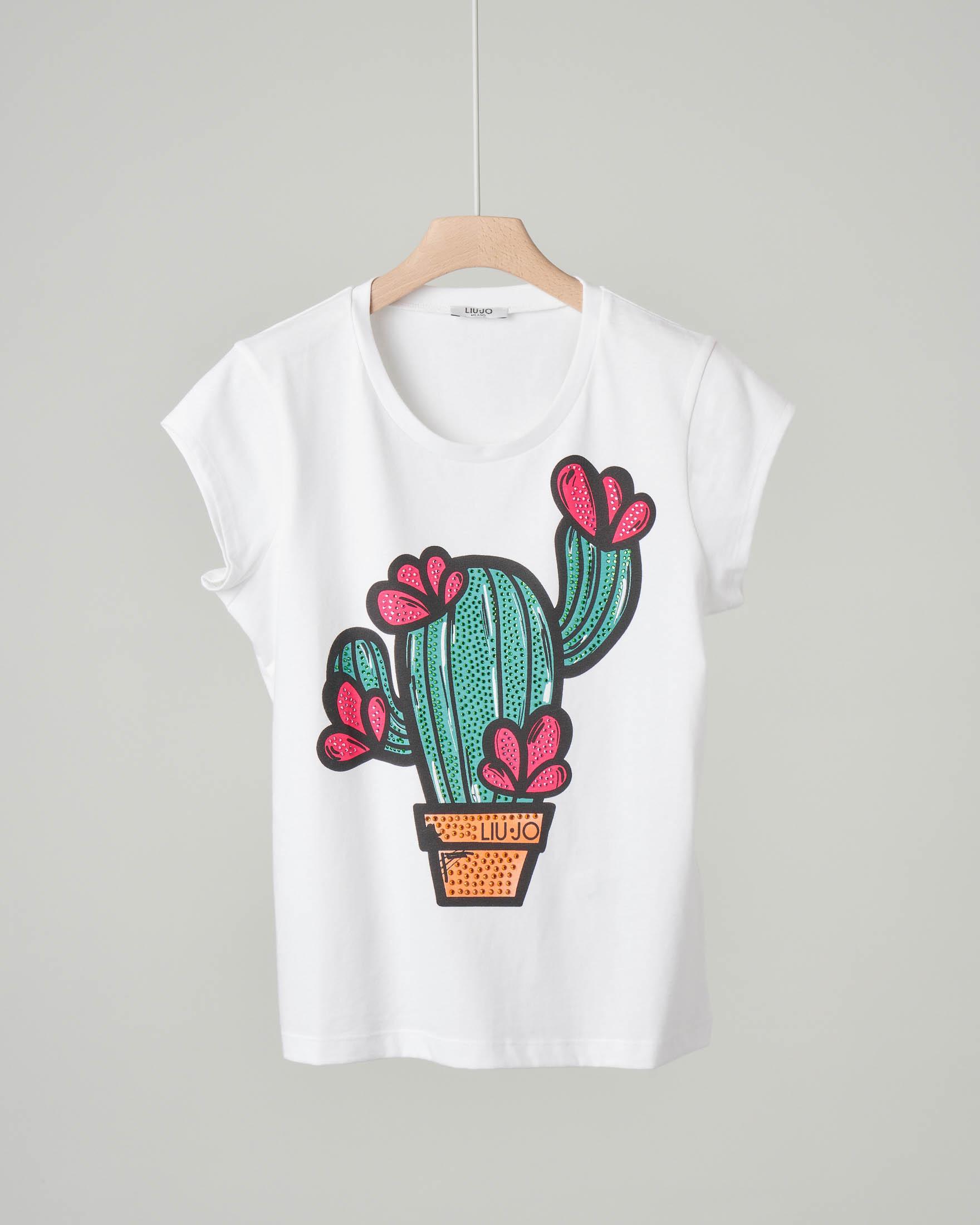 T-shirt bianca in cotone con maniche corte e disegno cactus con strass applicati