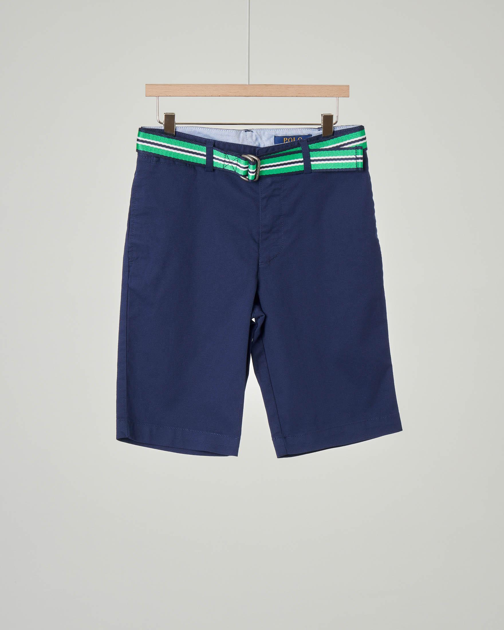 Bermuda chino blu con cintura