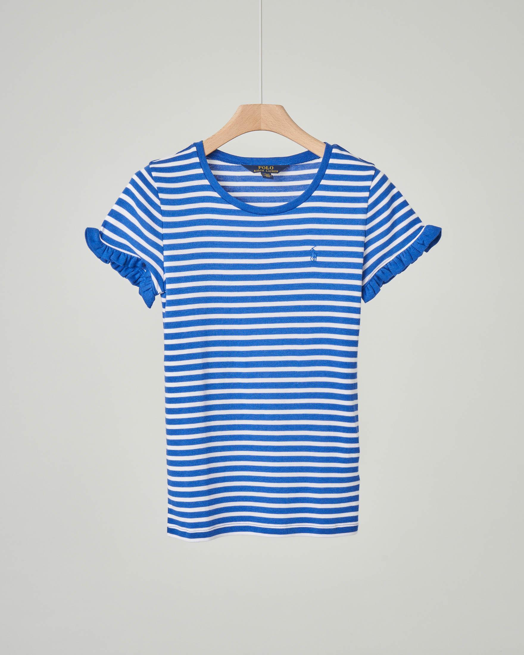 T-shirt a righe blu royal e bianche con volant sulle maniche