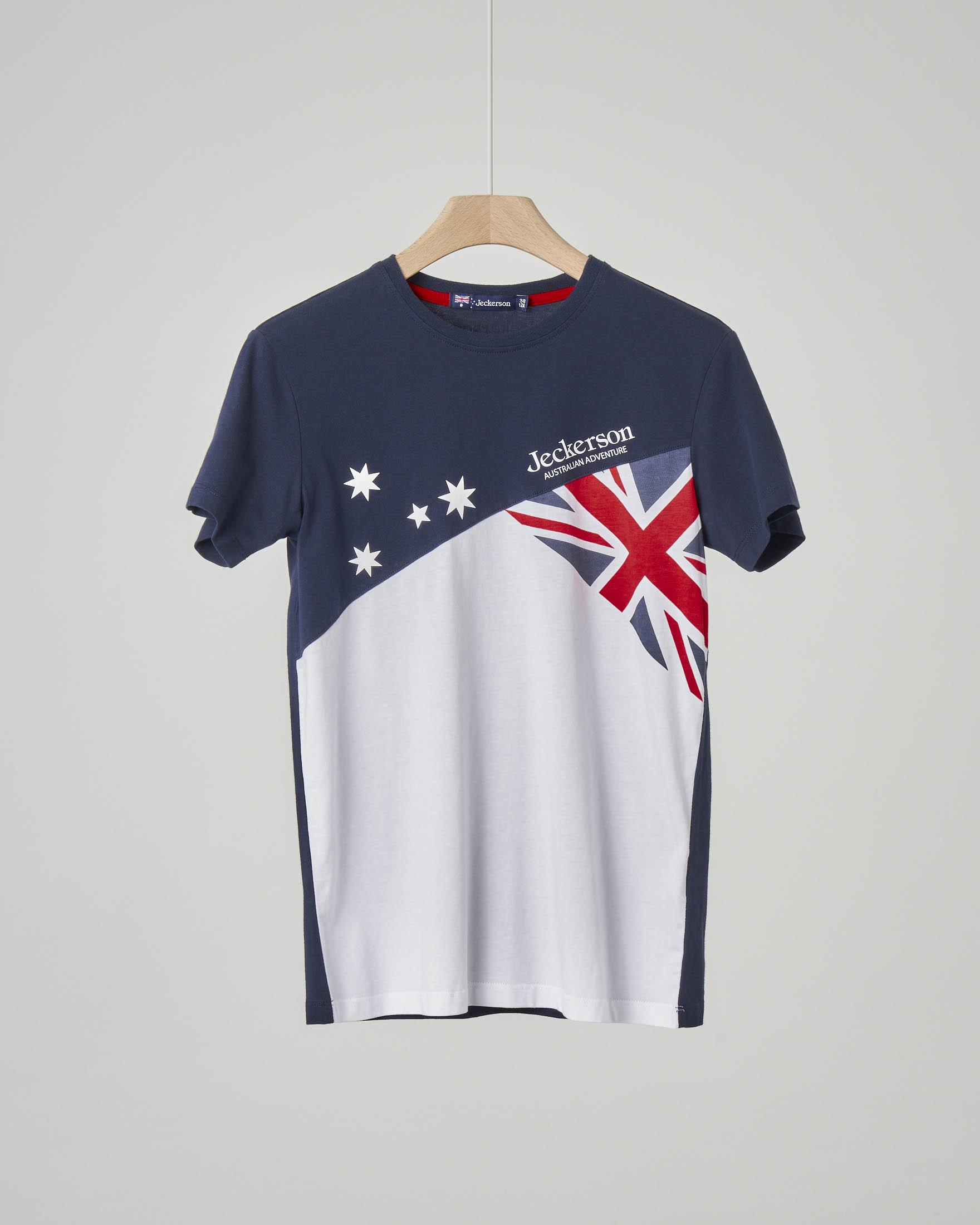 T-shirt blu e bianca con bandiera Australiana