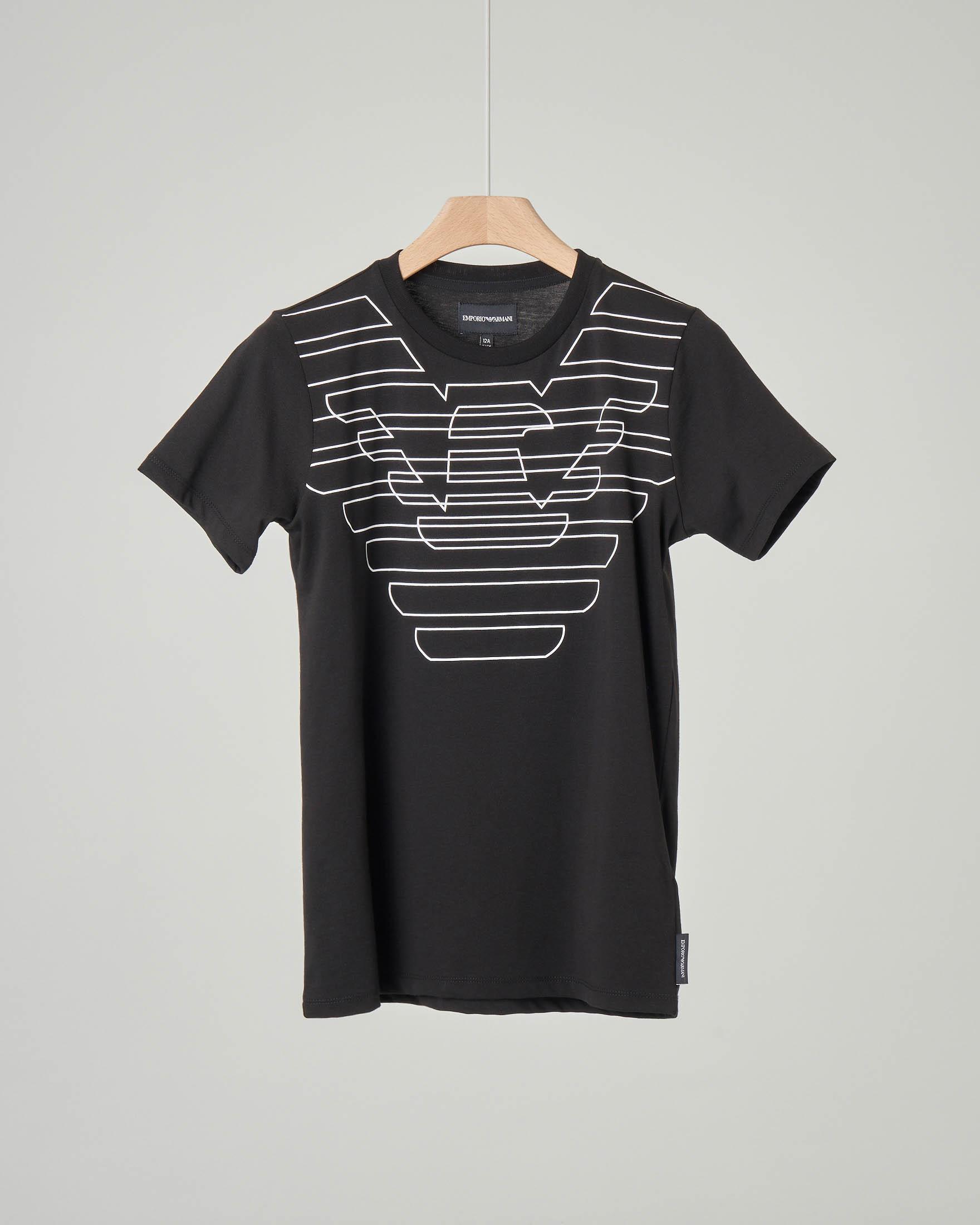 T-shirt nera con maxi-logo aquila