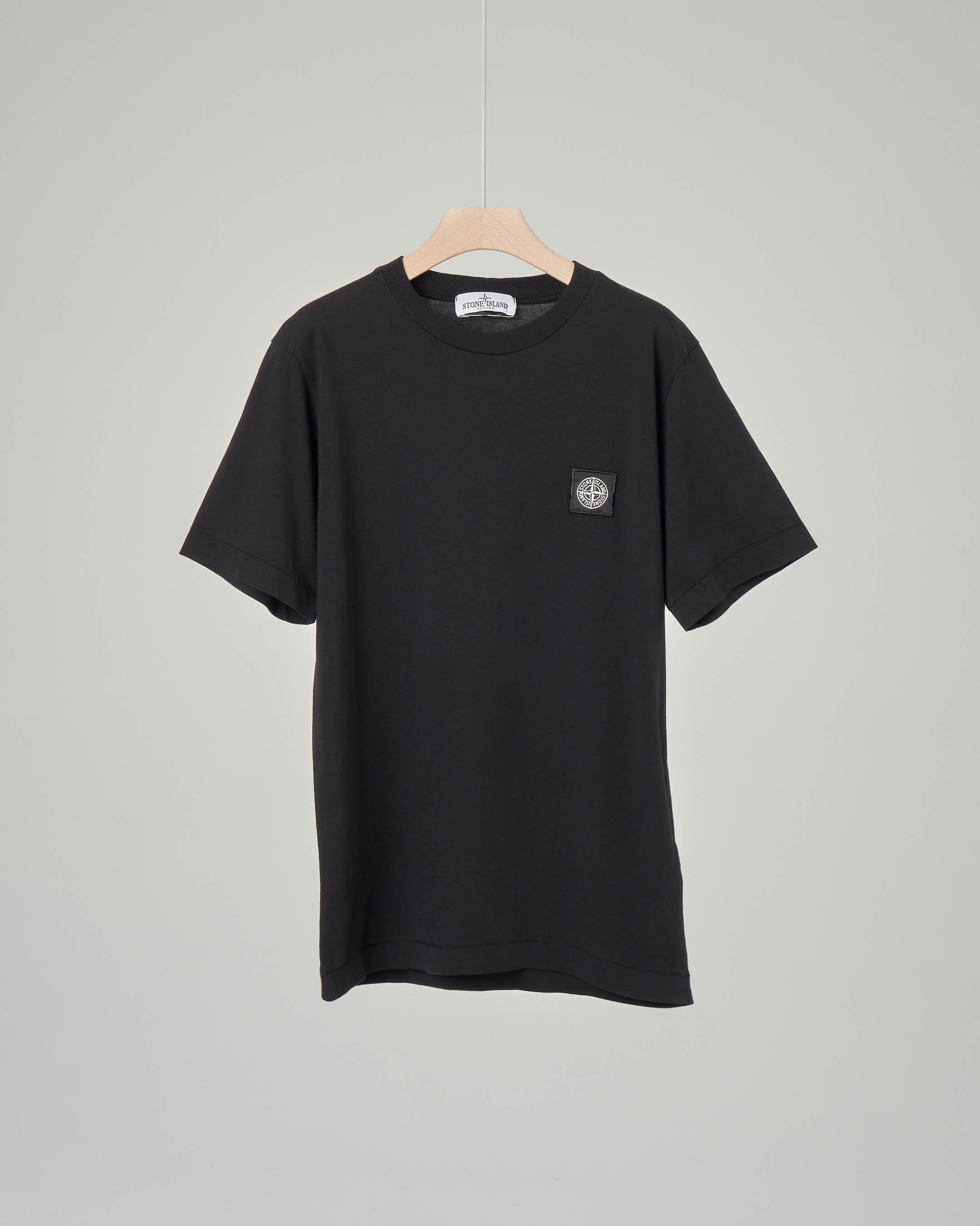 T-shirt nera mezza manica con logo 10-14 anni