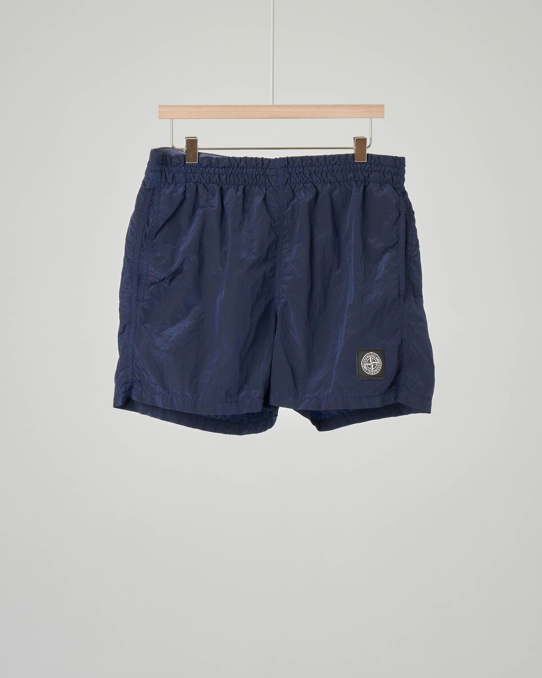 Costume boxer blu con patch logato sul fondo 10-14 anni