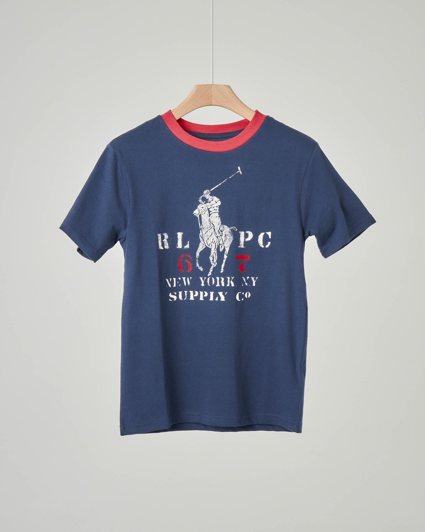 T-shirt blu con stampa logo pony