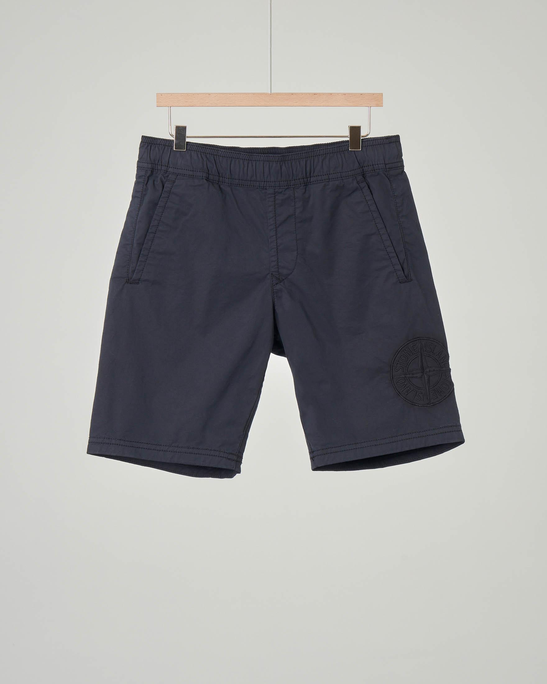 Bermuda blu in cotone stretch con elastico in vita 10-14 anni