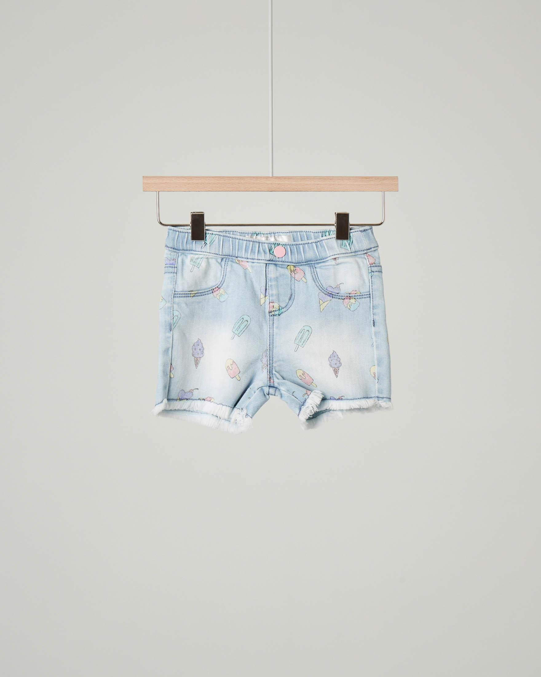 Shorts denim con stampa gelati