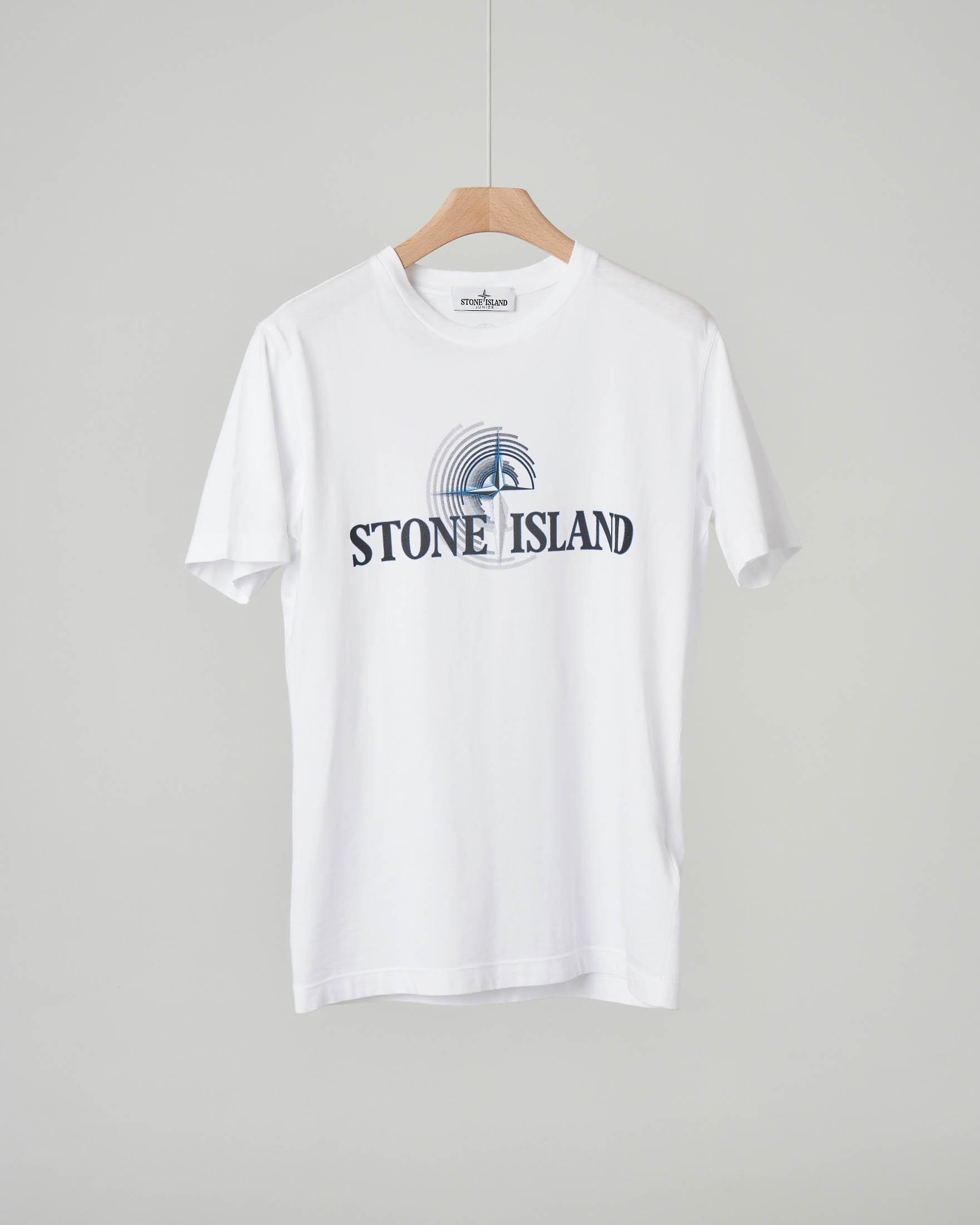 T-shirt bianca con logo e rosa dei venti stampati 10-14 anni