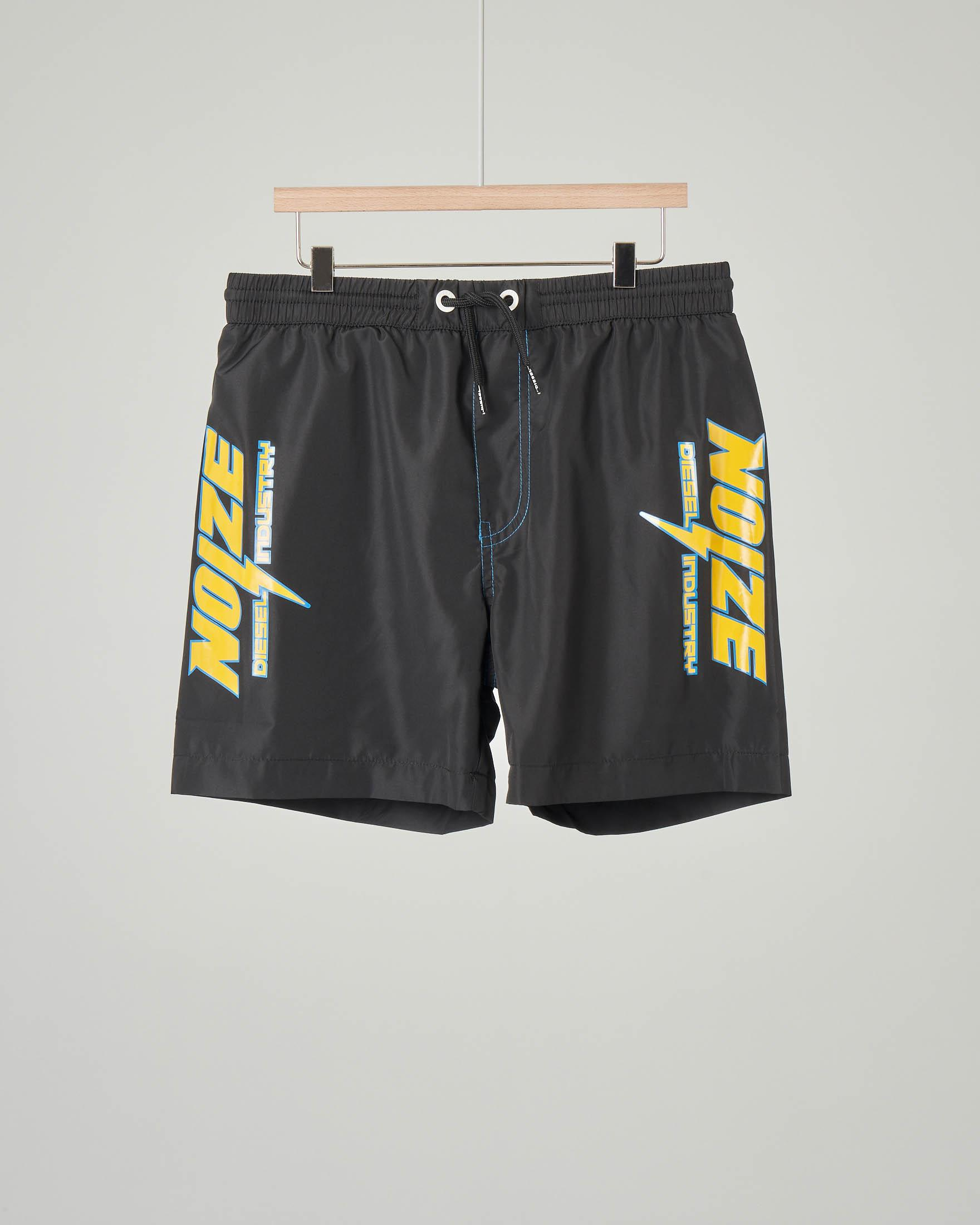 Costume boxer nero con logo giallo