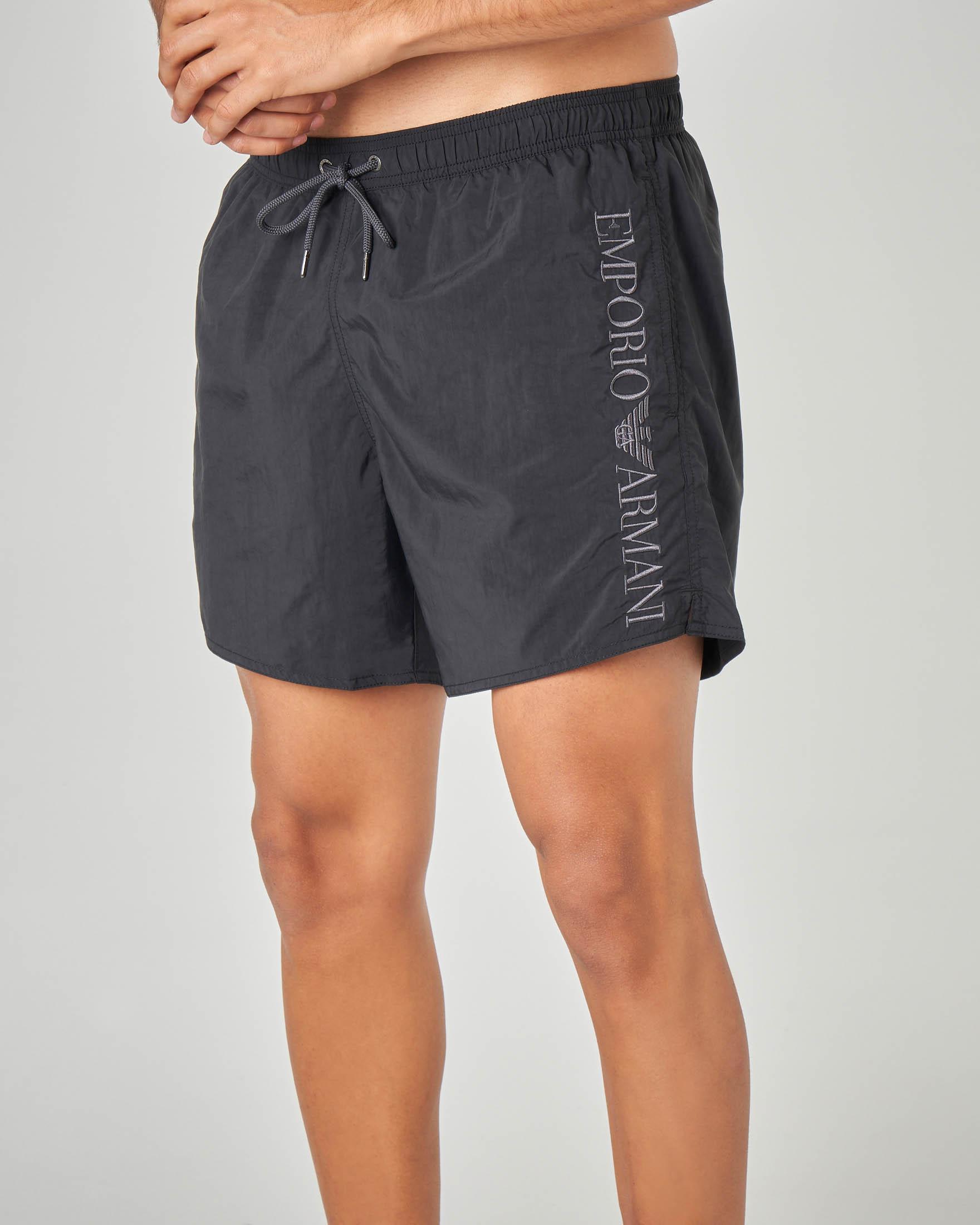 Costume boxer nero con logo ricamato in verticale