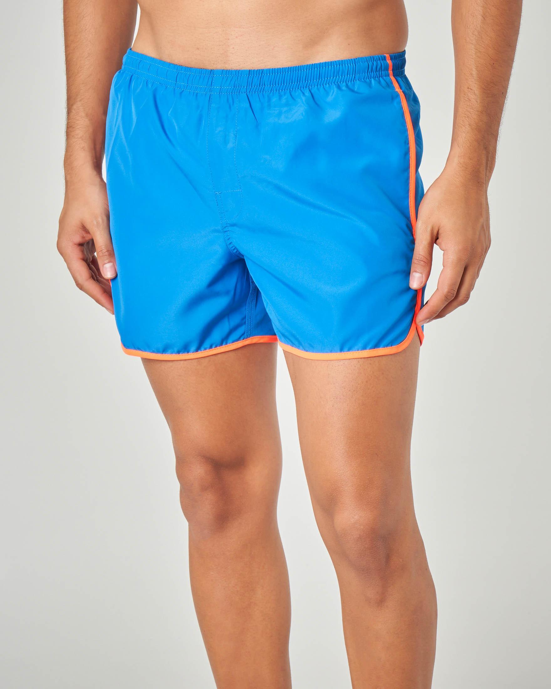 Boxer mare blu royal corto con profili in contrasto