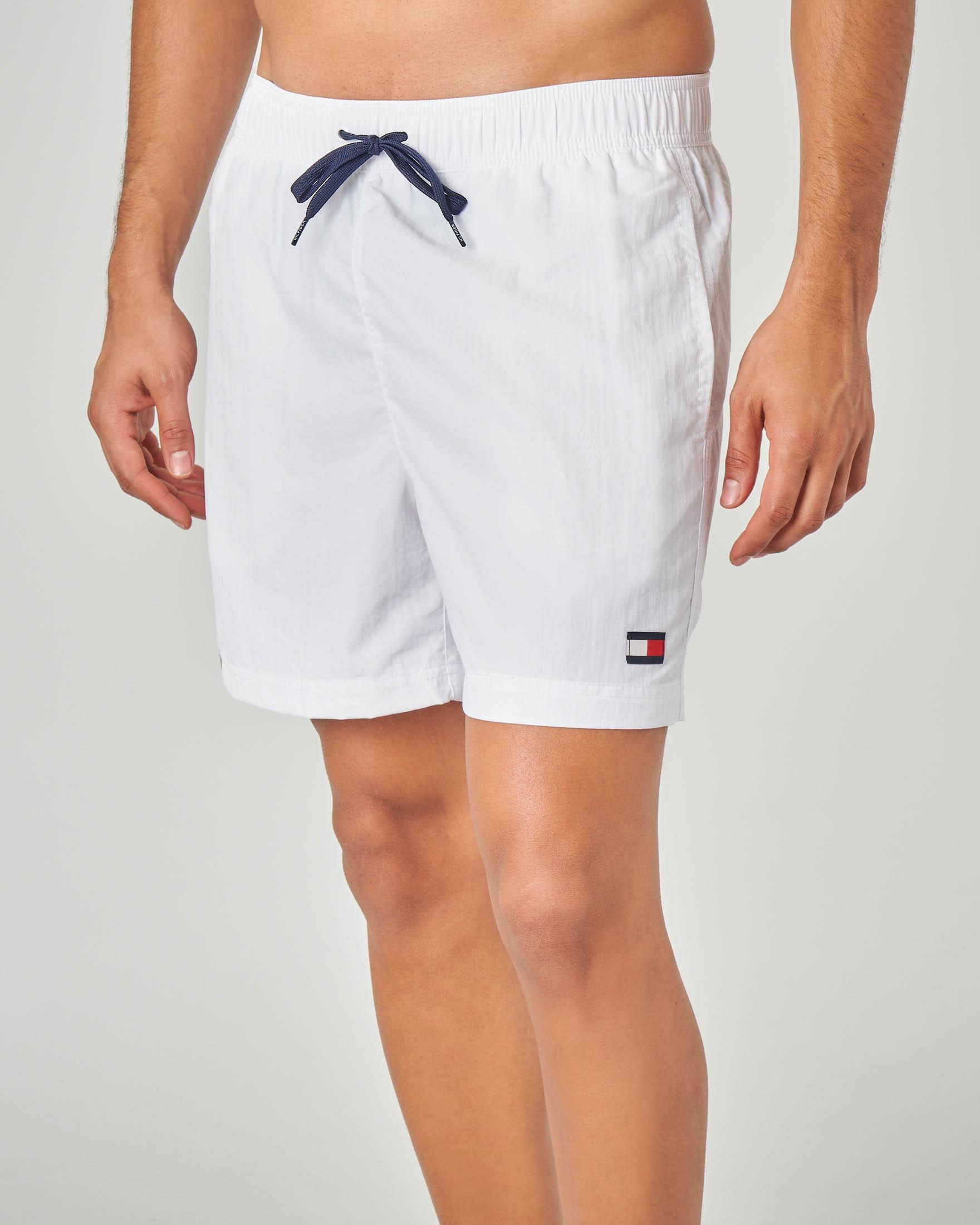 Costume boxer bianco con taschino e logo sul fianco